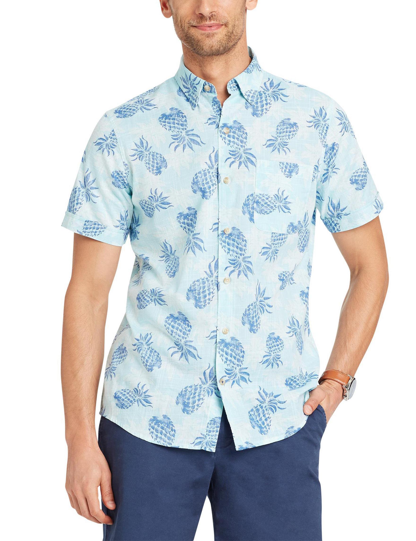 Izod Light Blue Casual Button Down Shirts