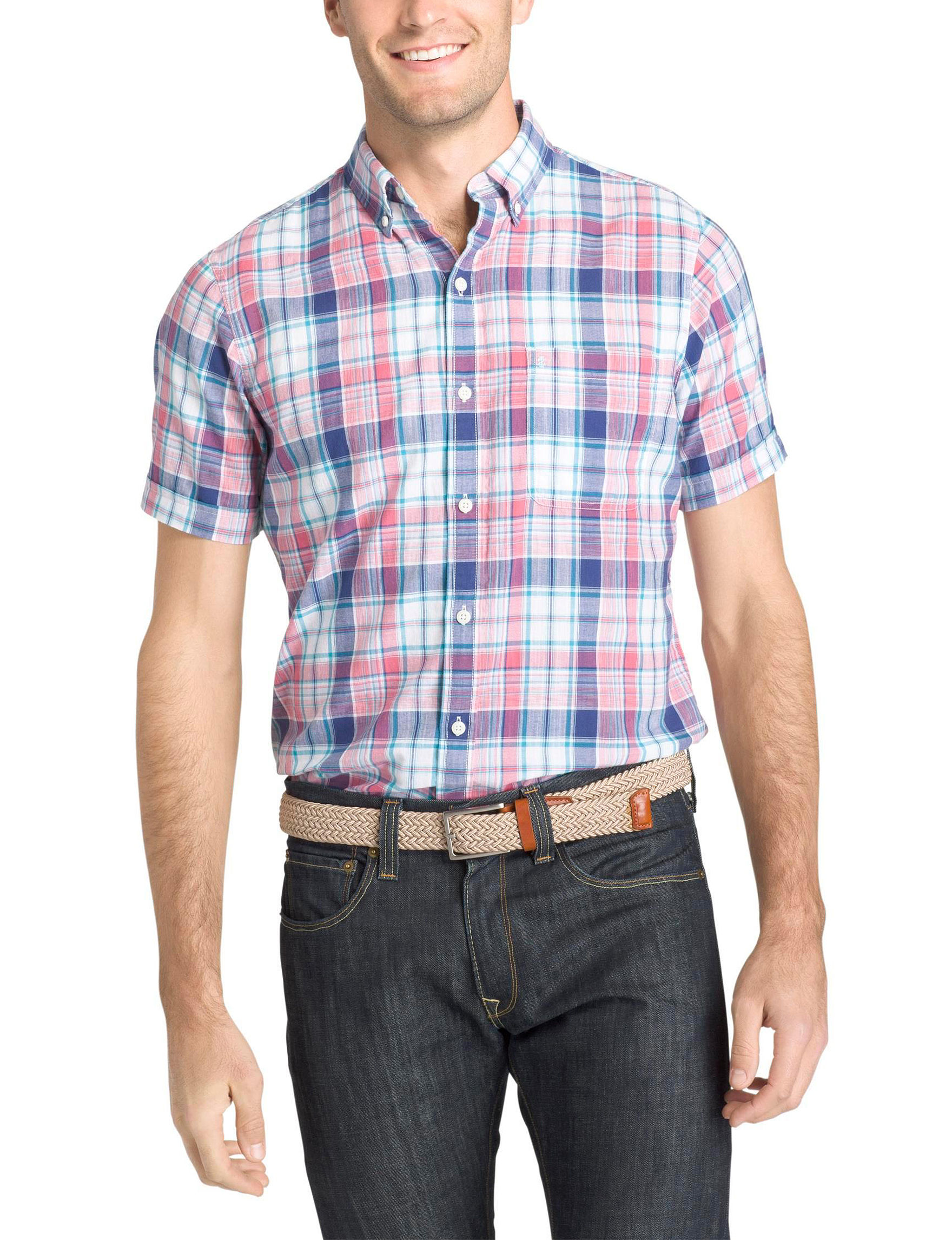 Izod Blue / Pink Casual Button Down Shirts