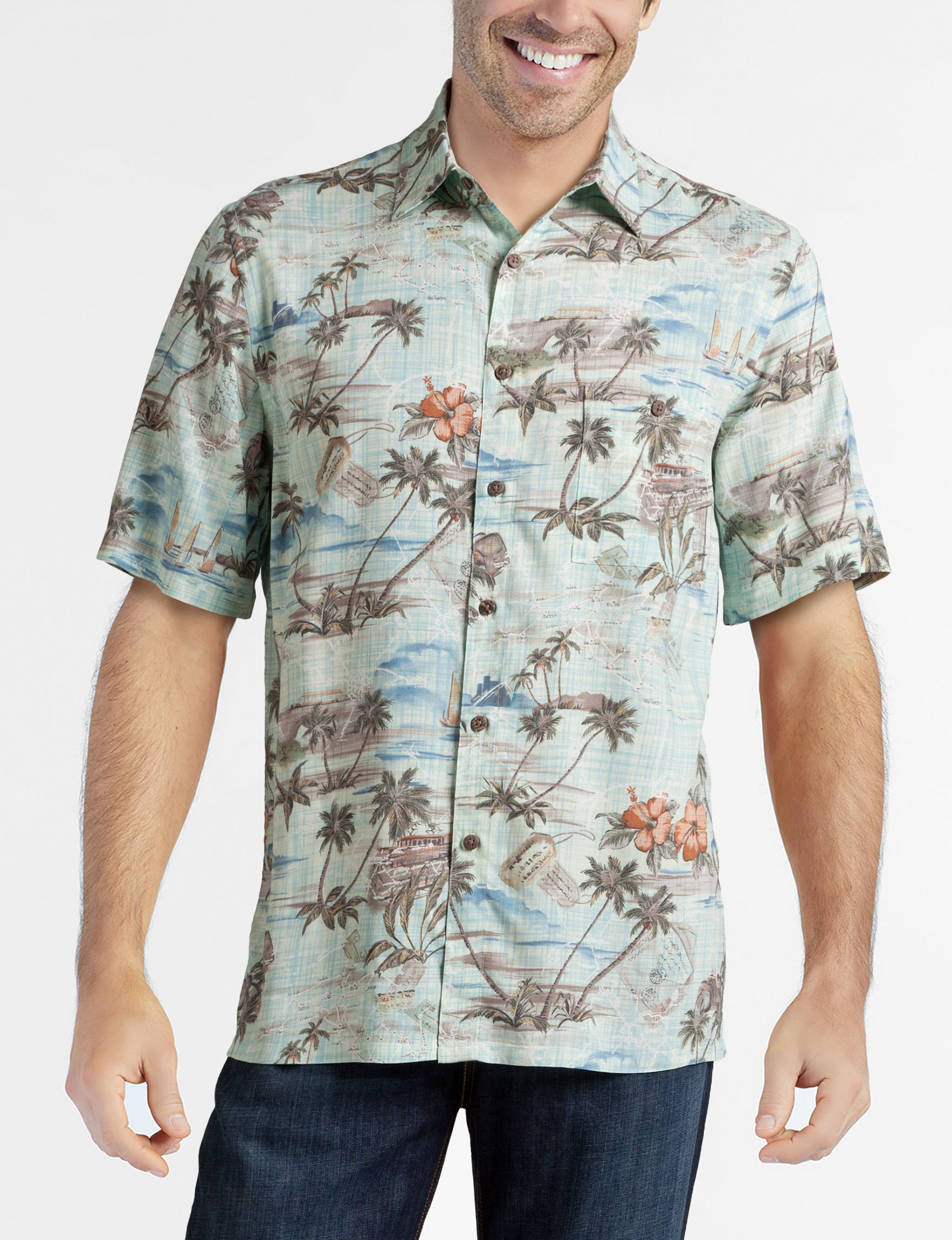 Campia Turquoise Casual Button Down Shirts