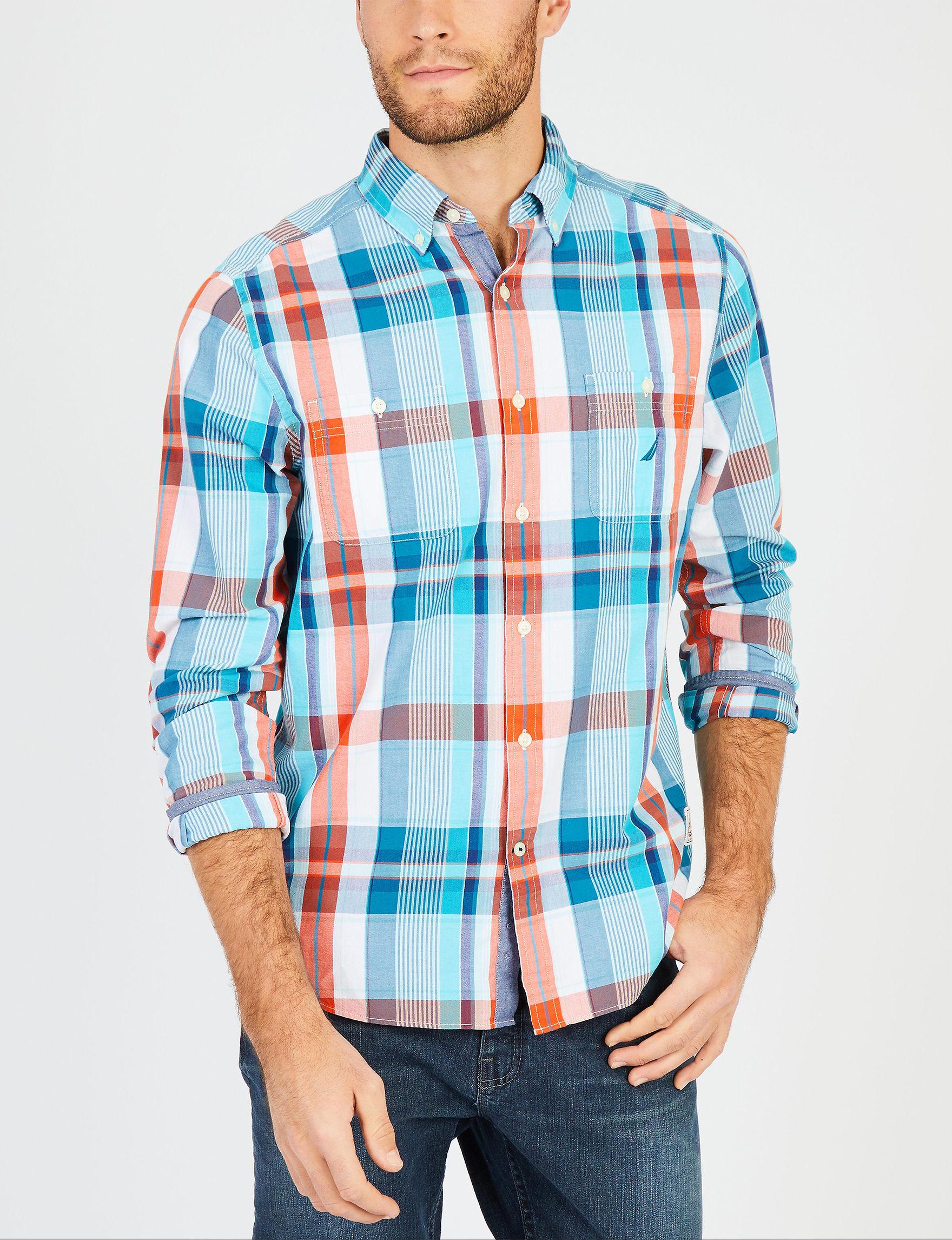 Nautica Blue / Orange Casual Button Down Shirts