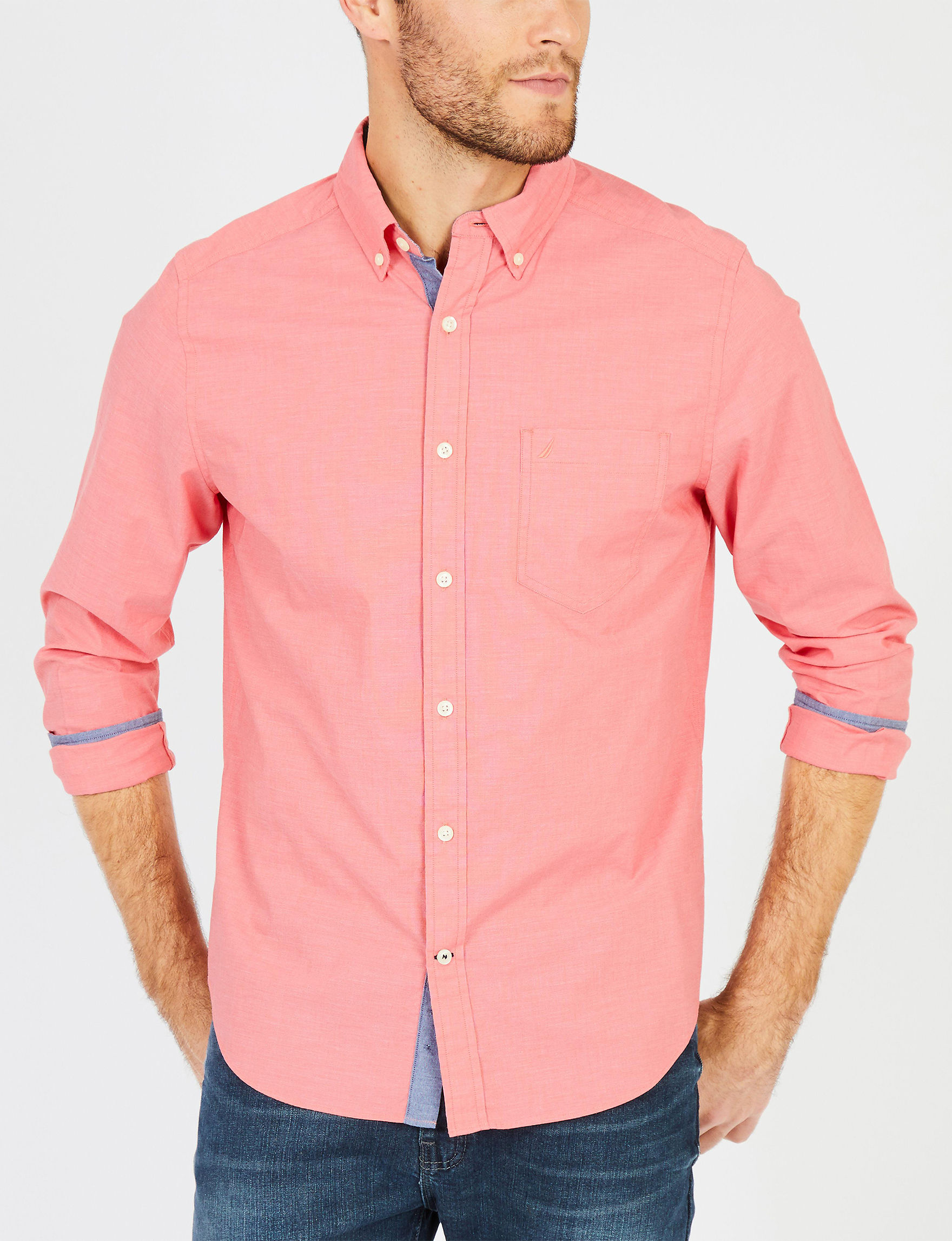 Nautica Salmon Casual Button Down Shirts