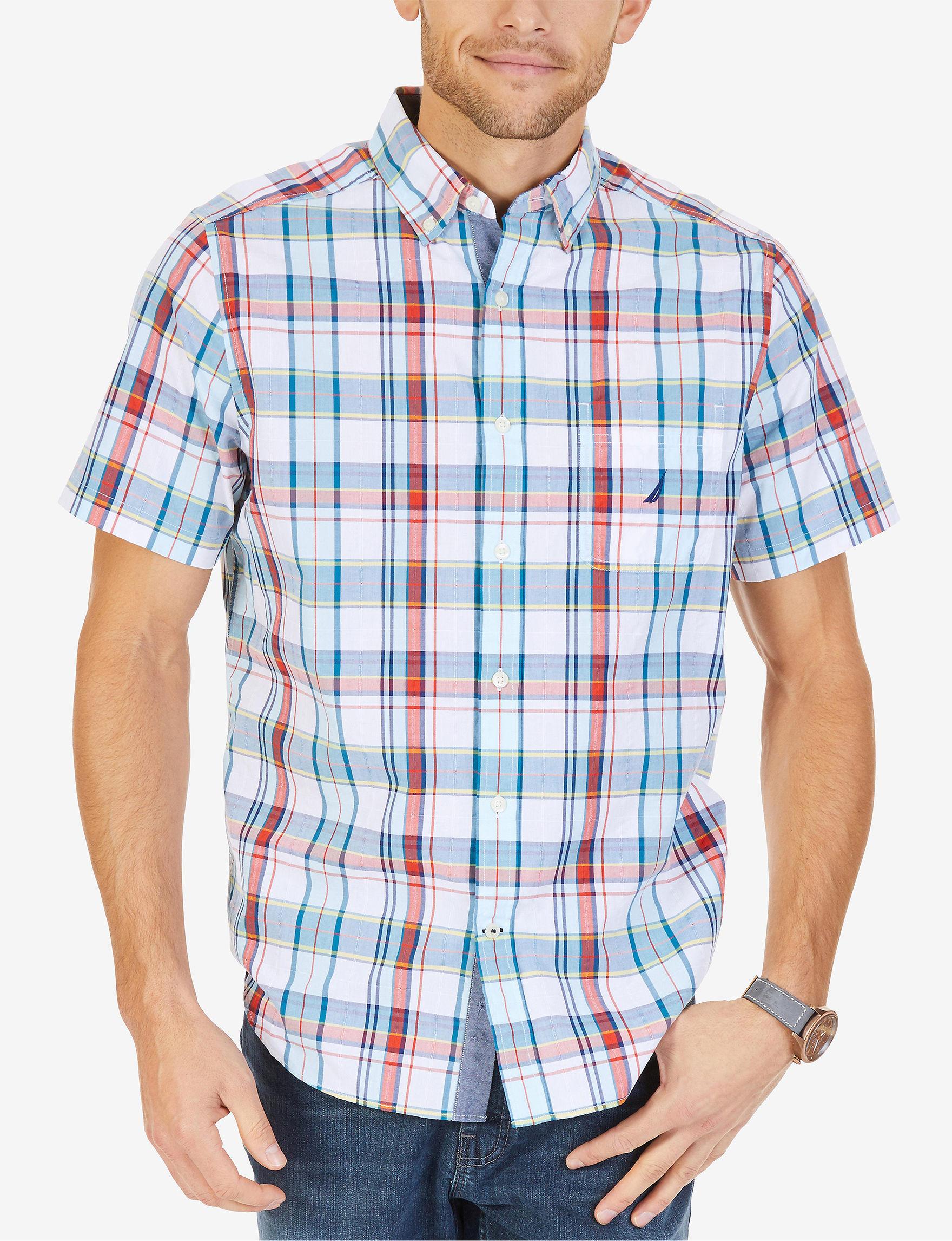 Nautica White Multi Casual Button Down Shirts