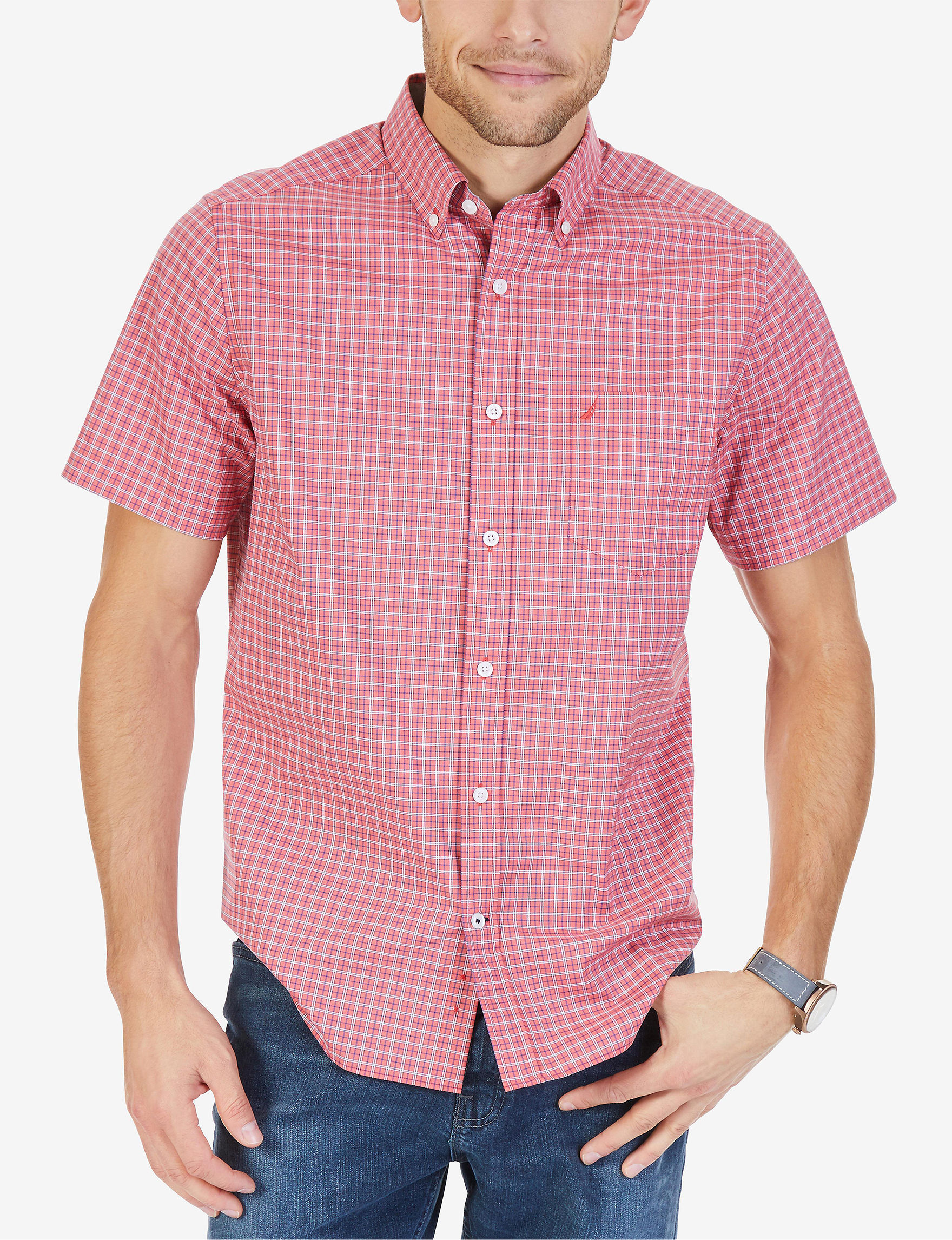 Nautica Red Casual Button Down Shirts