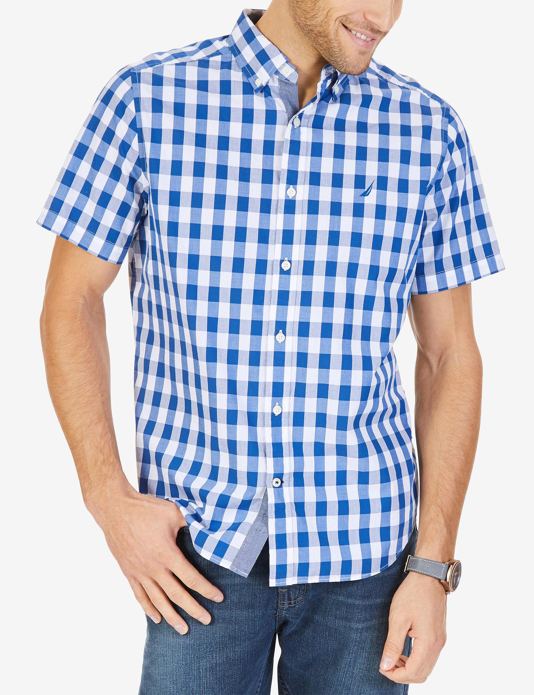 Nautica Blue / White Casual Button Down Shirts