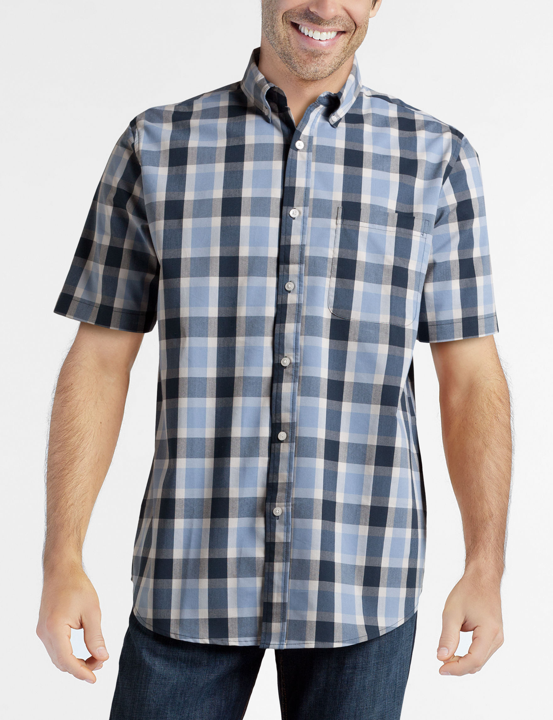 Sun River Indigo Casual Button Down Shirts