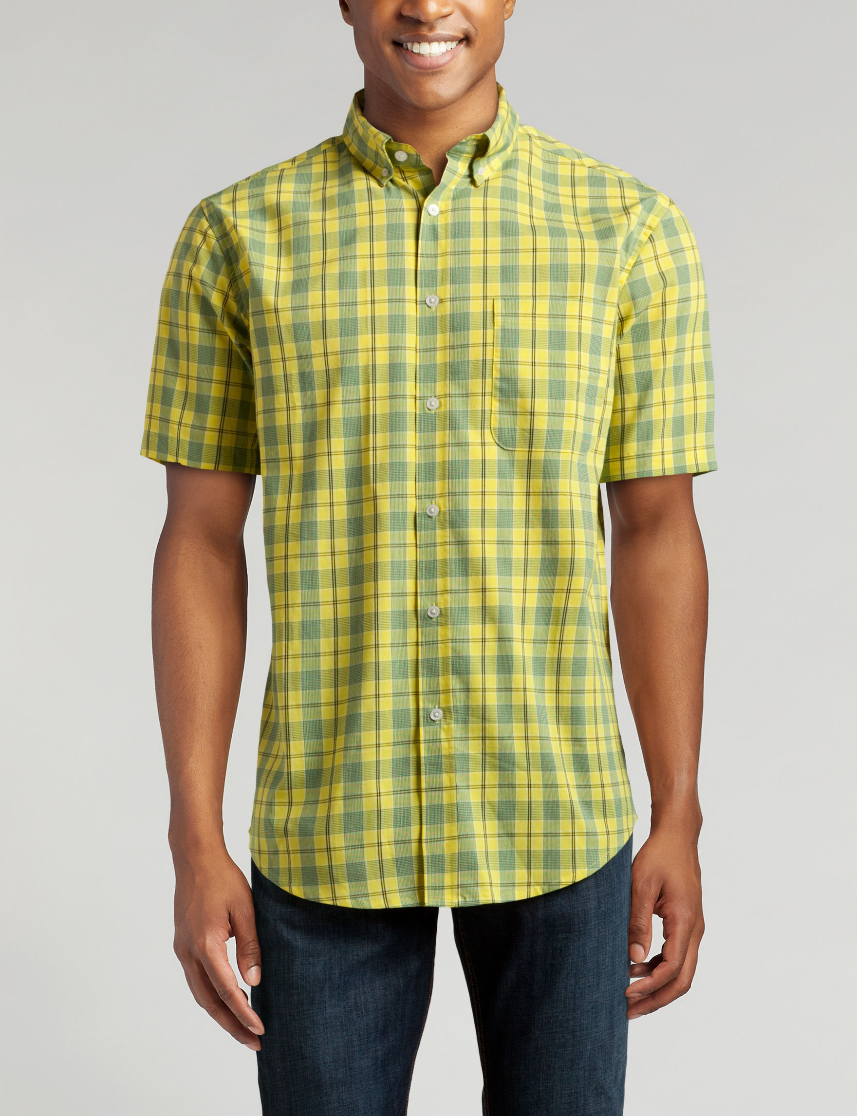Sun River Yellow Casual Button Down Shirts
