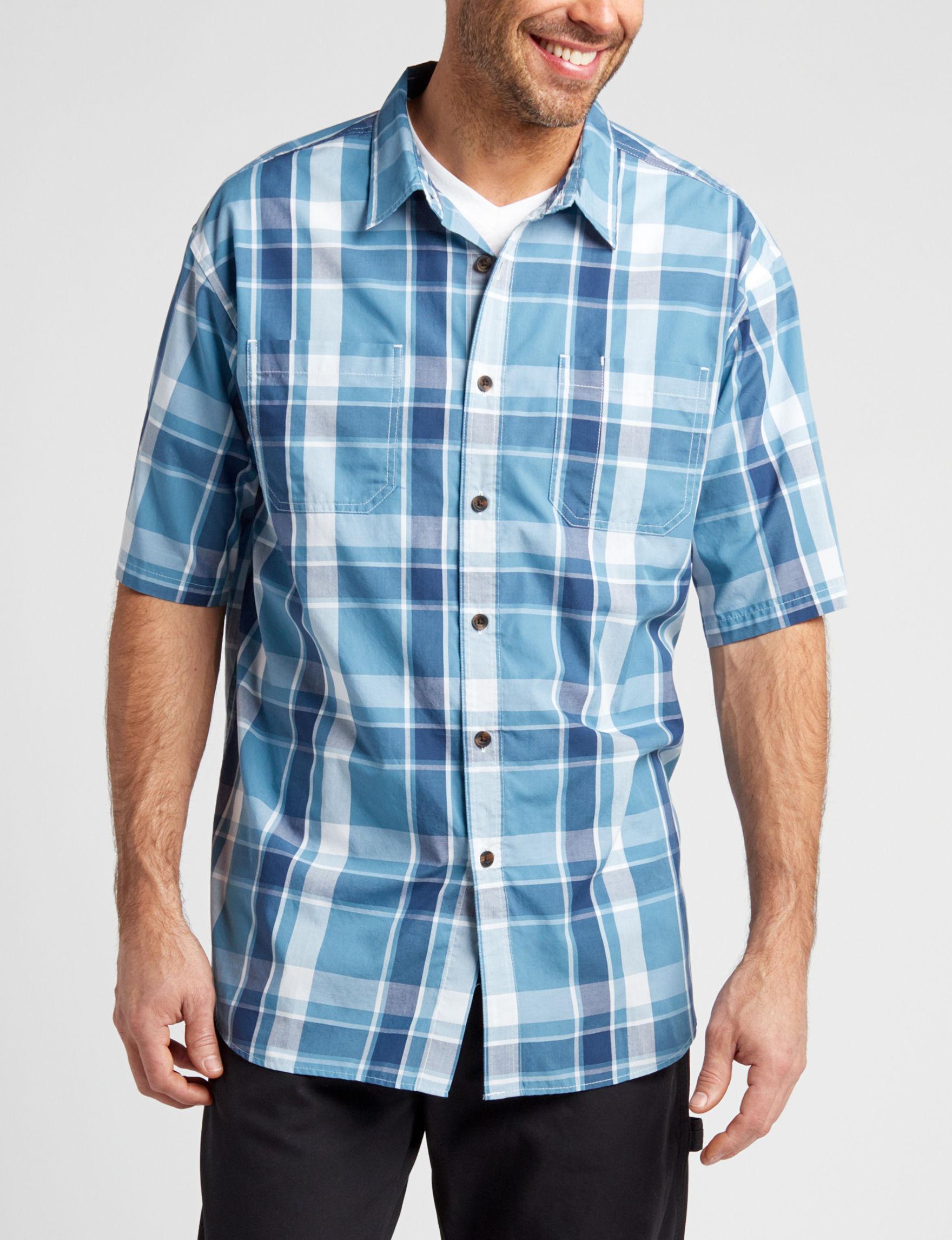 Dickies Blue Plaid Casual Button Down Shirts