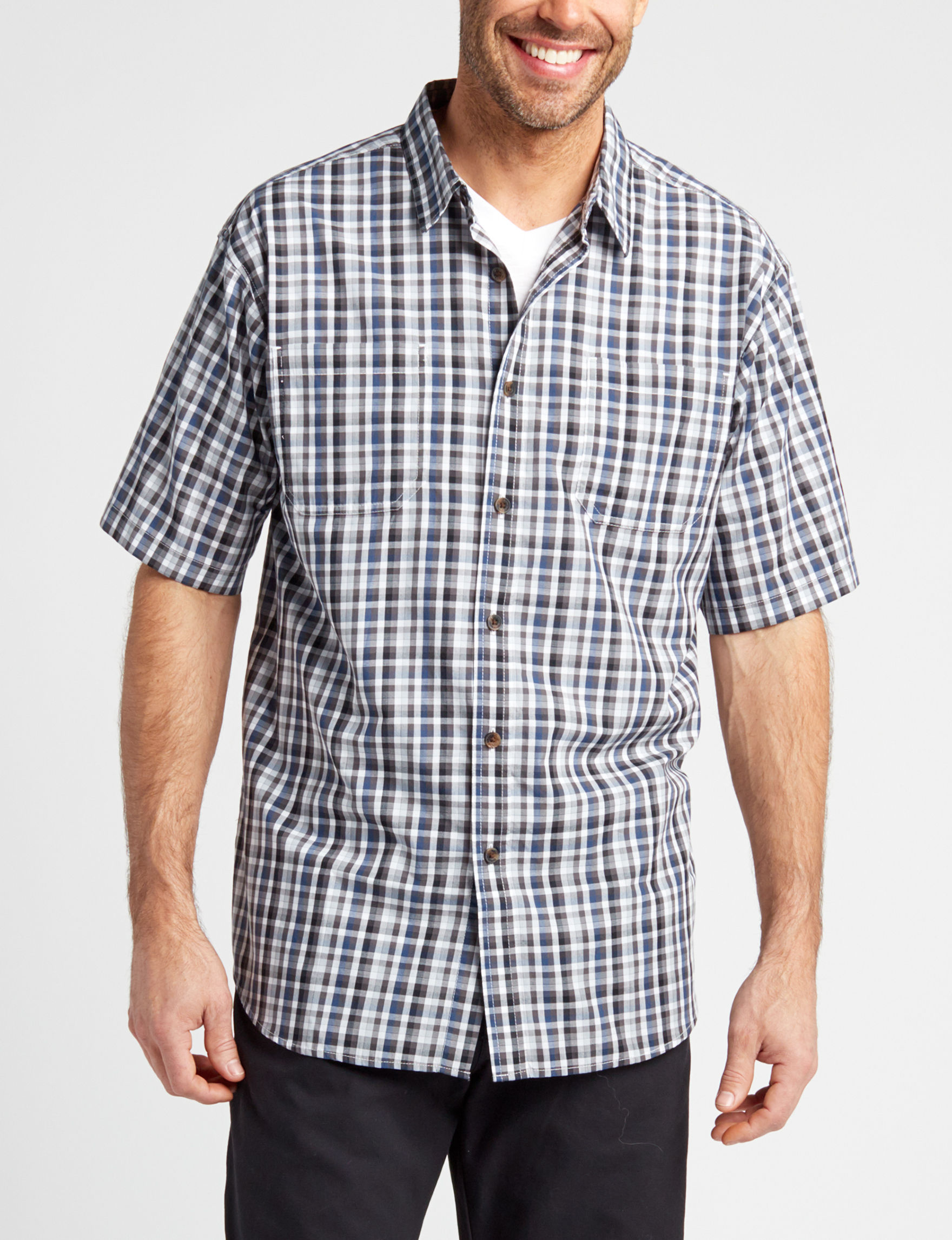 Dickies Black / White Casual Button Down Shirts