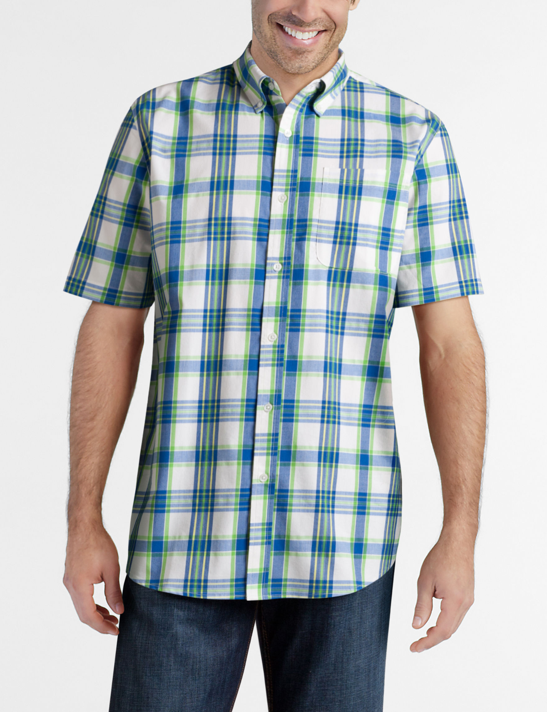 Sun River Green Plaid Casual Button Down Shirts