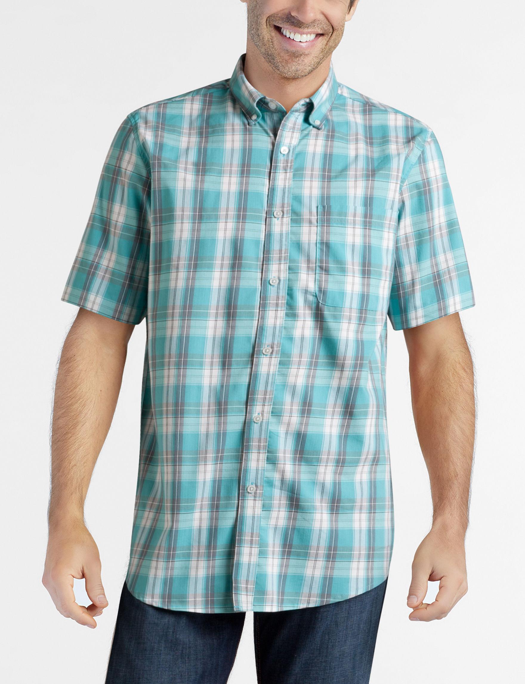 Sun River Deep Teal Plaid Casual Button Down Shirts