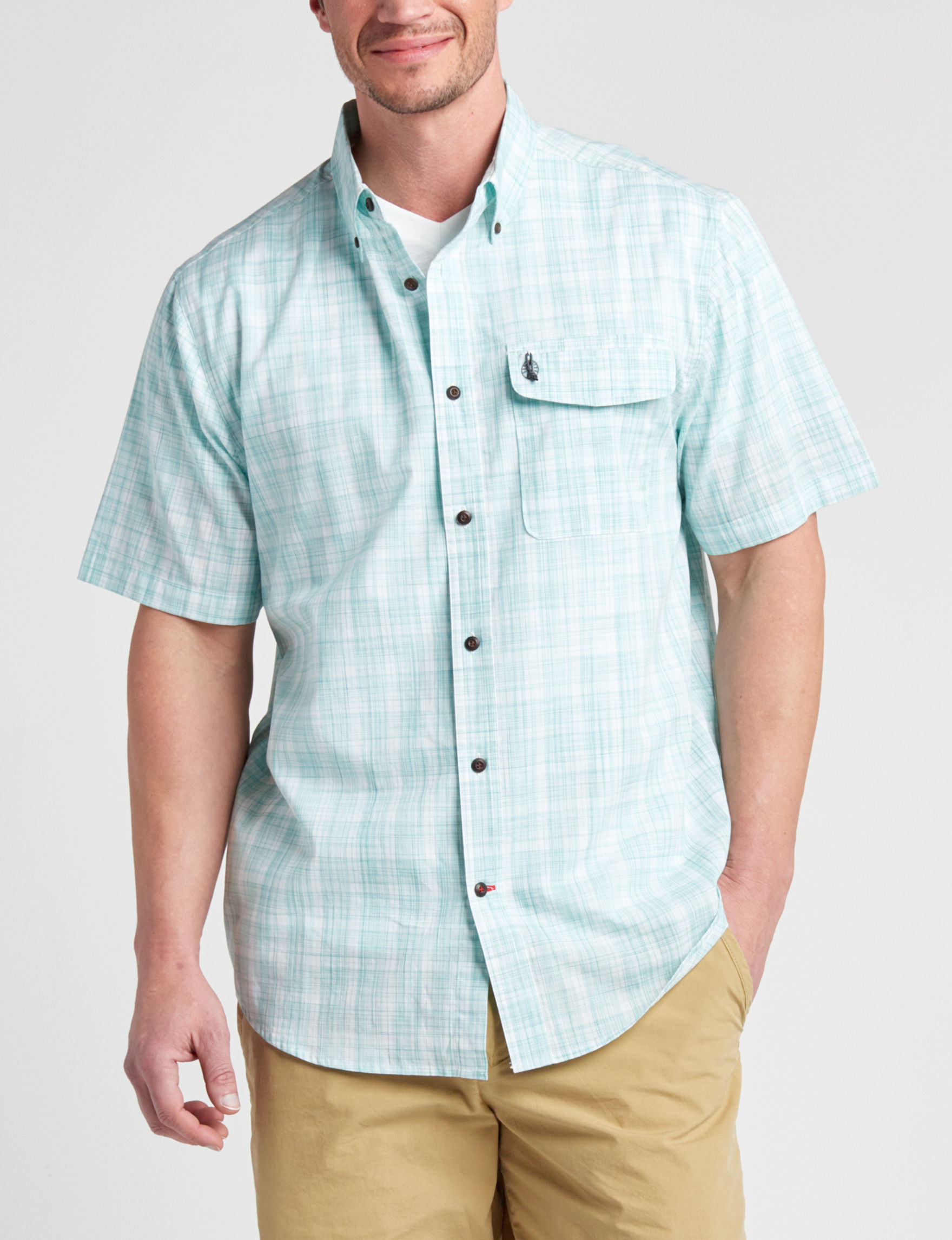 Coleman Aqua Casual Button Down Shirts