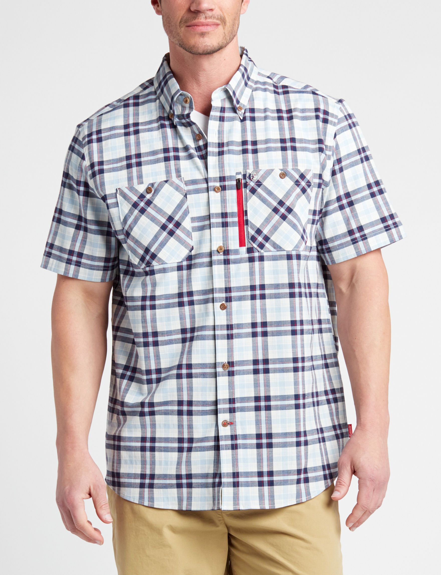 Coleman Navy / Red Casual Button Down Shirts