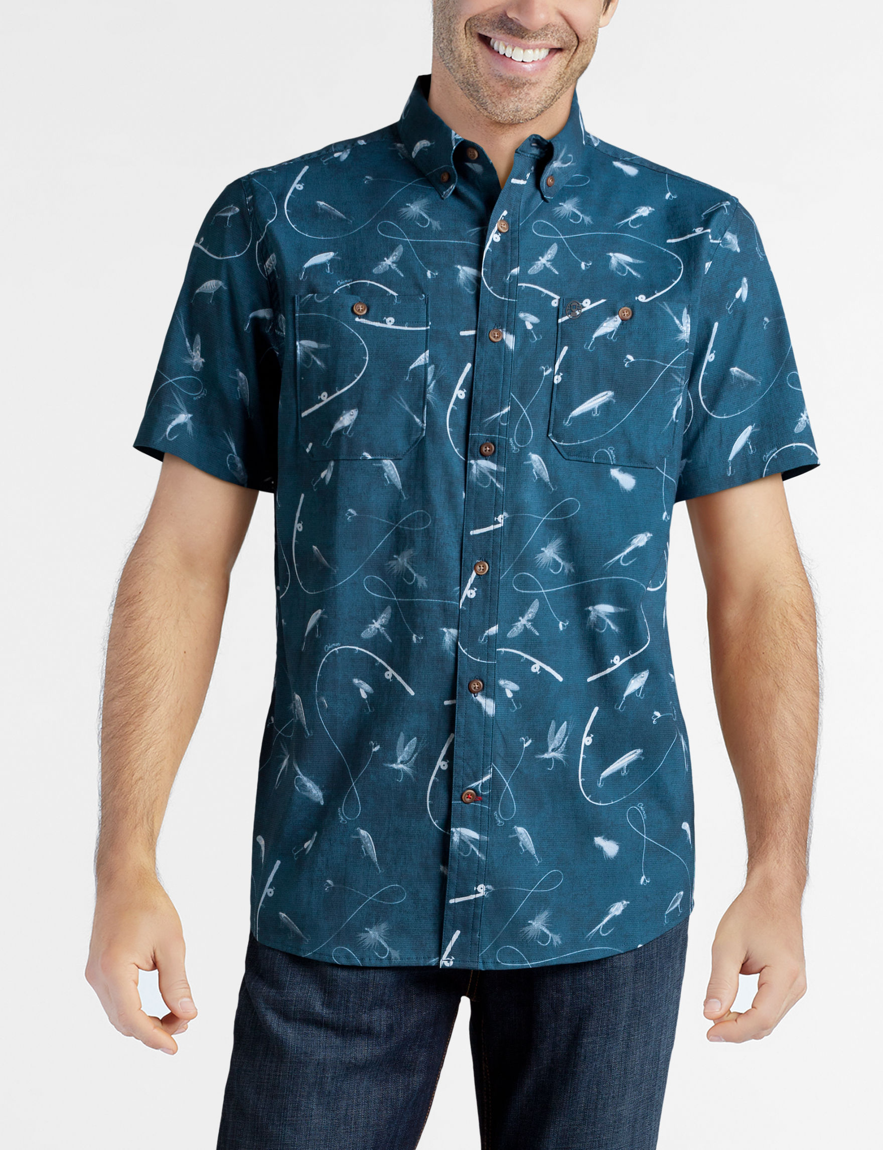 Coleman Dark Blue Casual Button Down Shirts