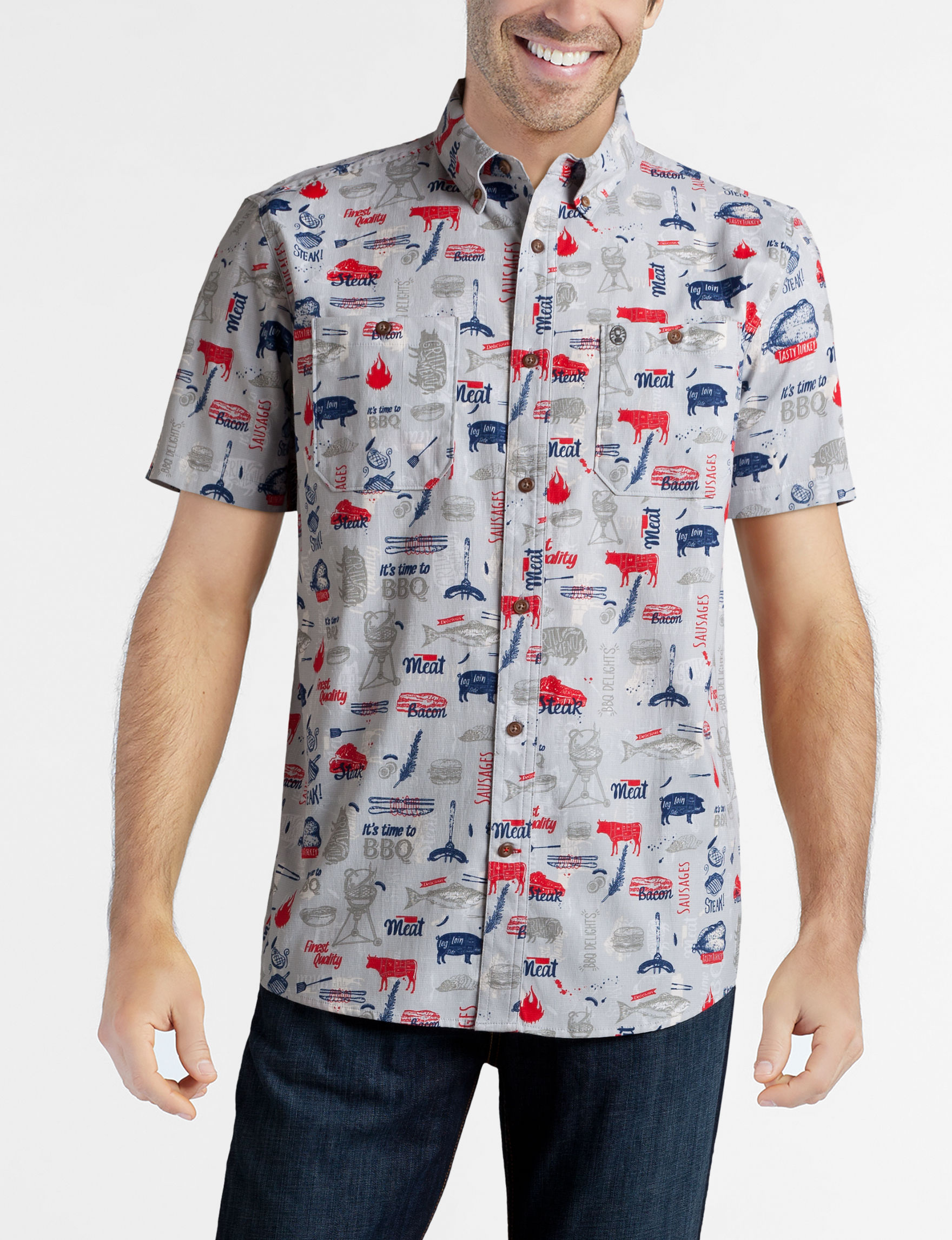 Coleman Grey / Red / Blue Casual Button Down Shirts