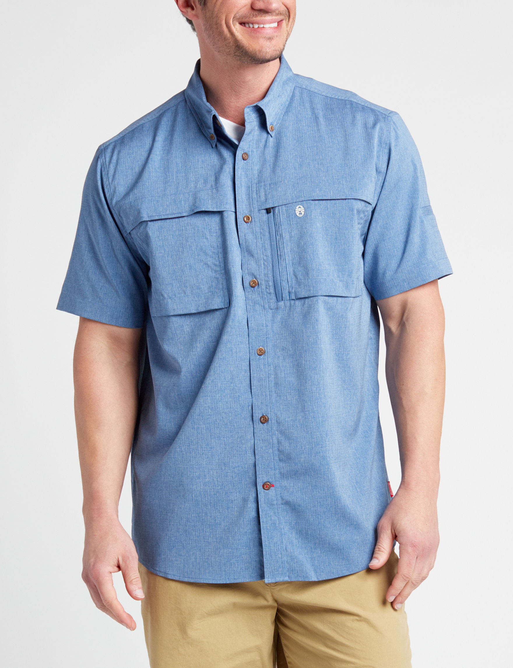 Coleman Heather Blue Casual Button Down Shirts