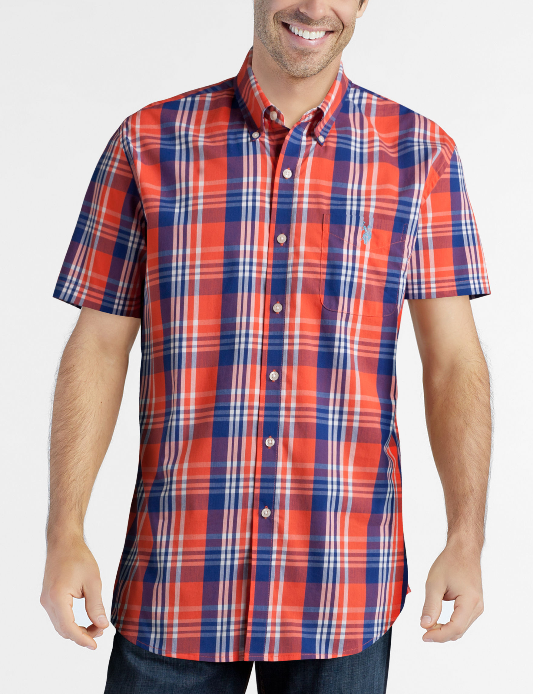U.S. Polo Assn. Red / White / Blue Casual Button Down Shirts