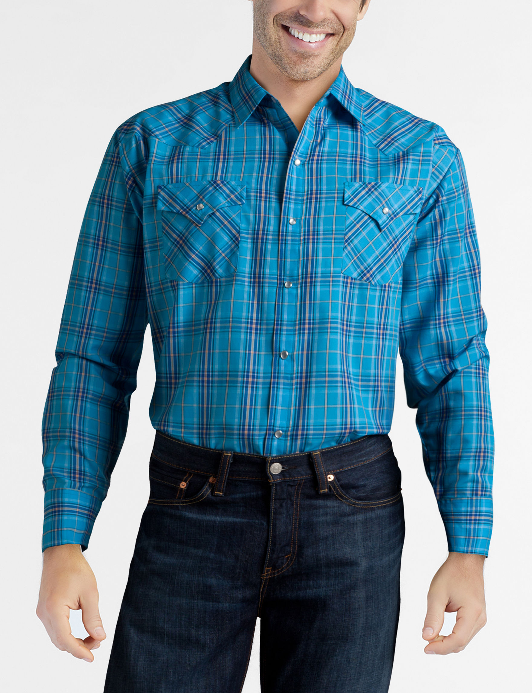 Ely Cattleman Blue Plaid Casual Button Down Shirts