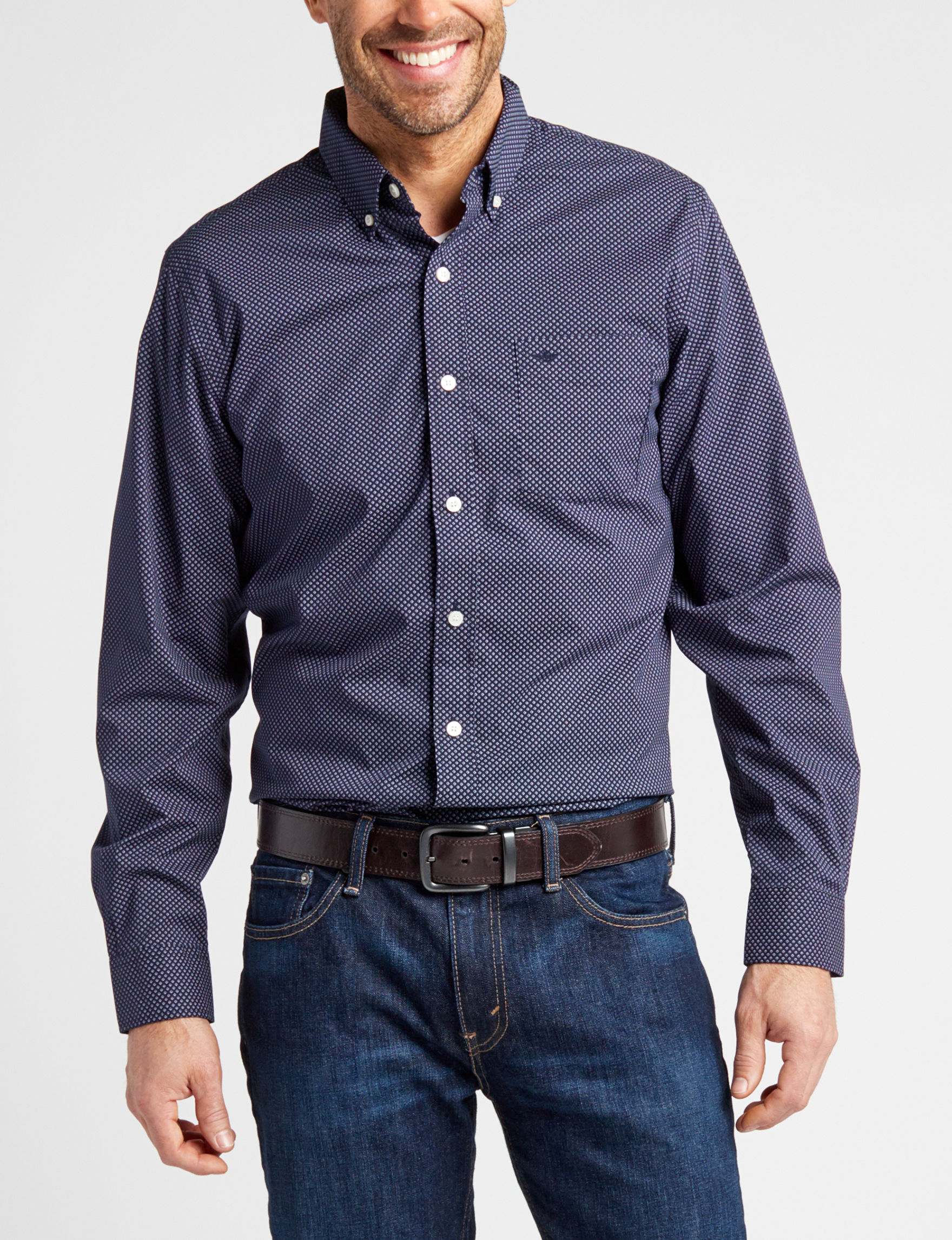 Dockers Black / Grey Casual Button Down Shirts