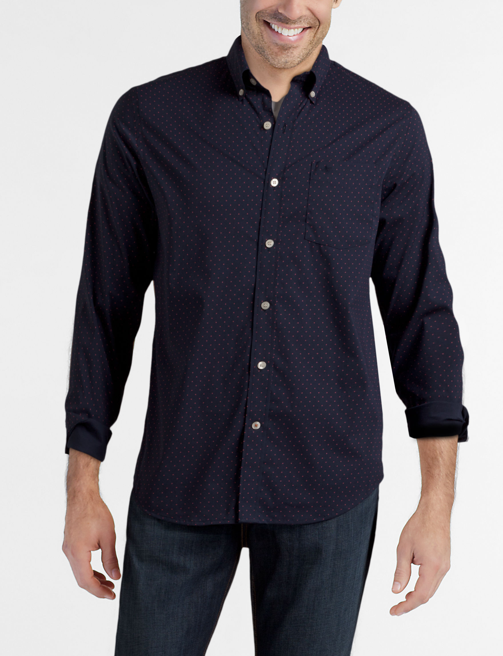 Dockers Navy / Pink Casual Button Down Shirts