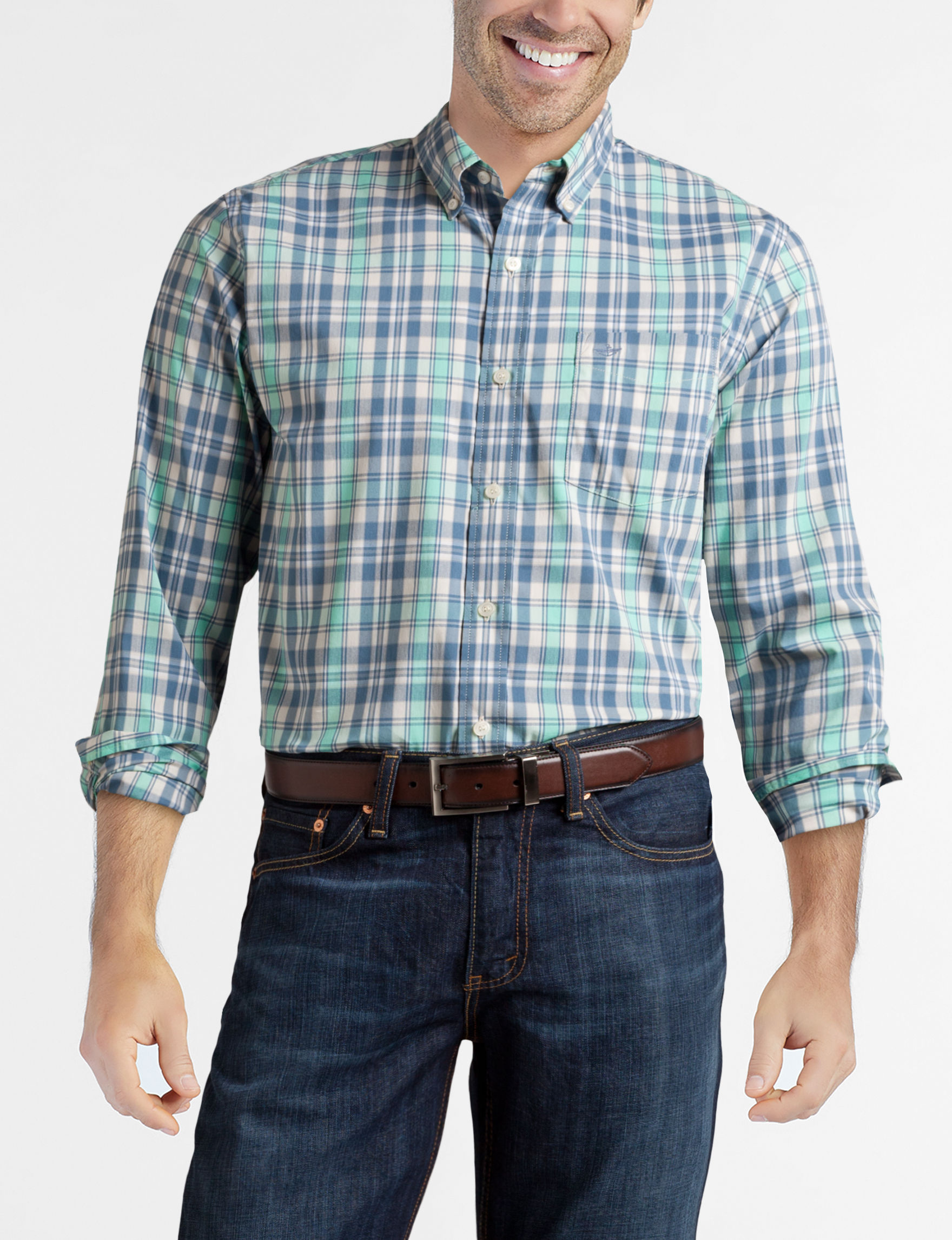 Dockers Blue Plaid Casual Button Down Shirts