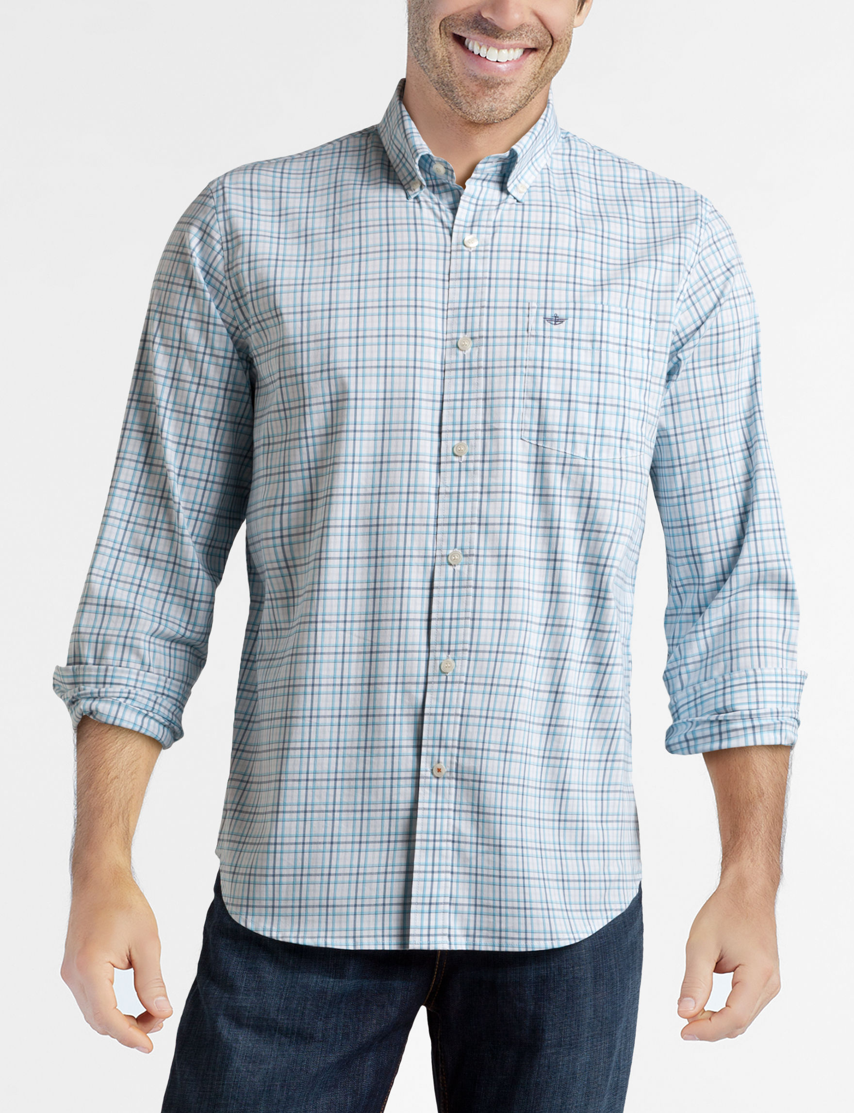 Dockers Blue Plaid Casual Button Down Shirts