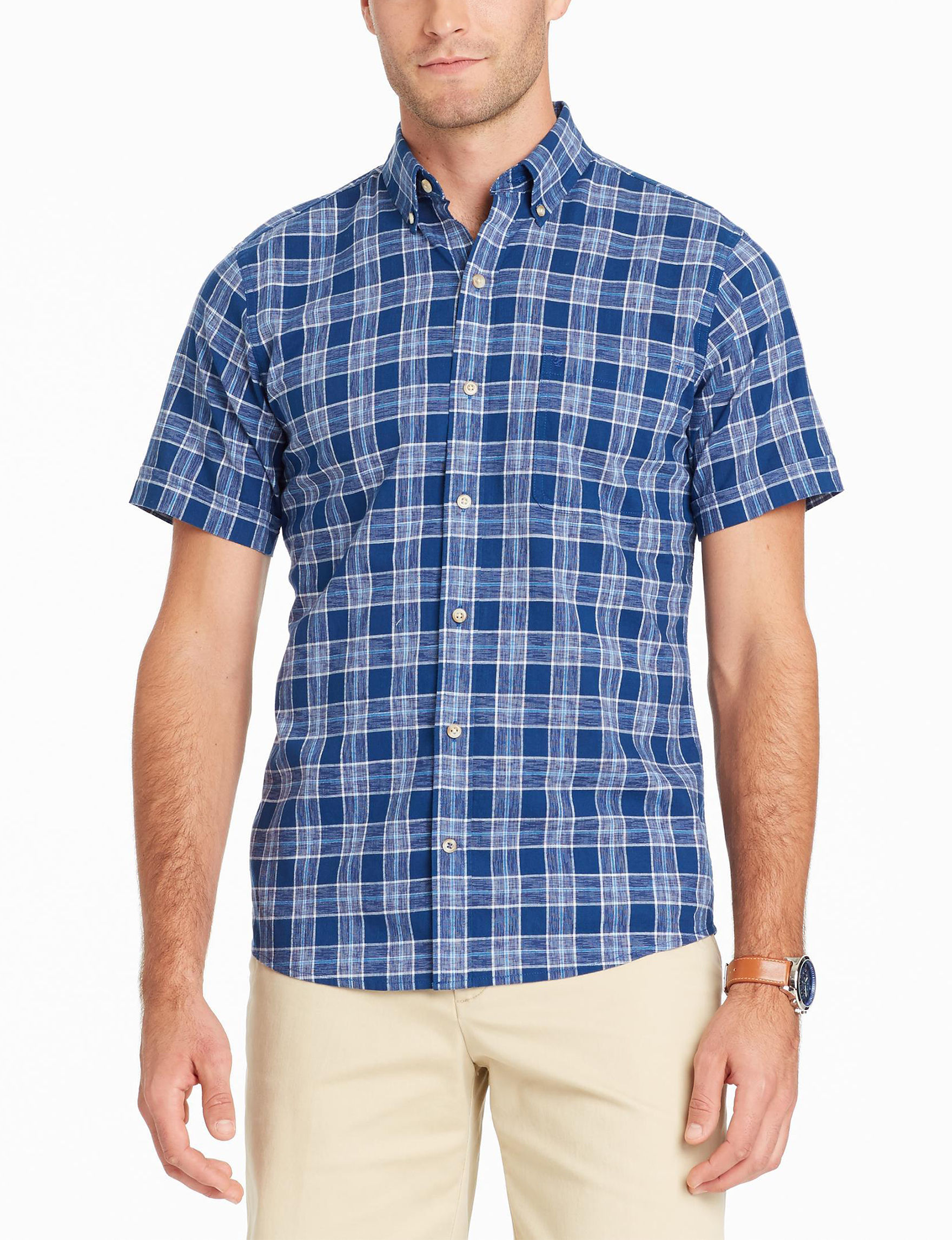 Izod Blue Plaid Casual Button Down Shirts