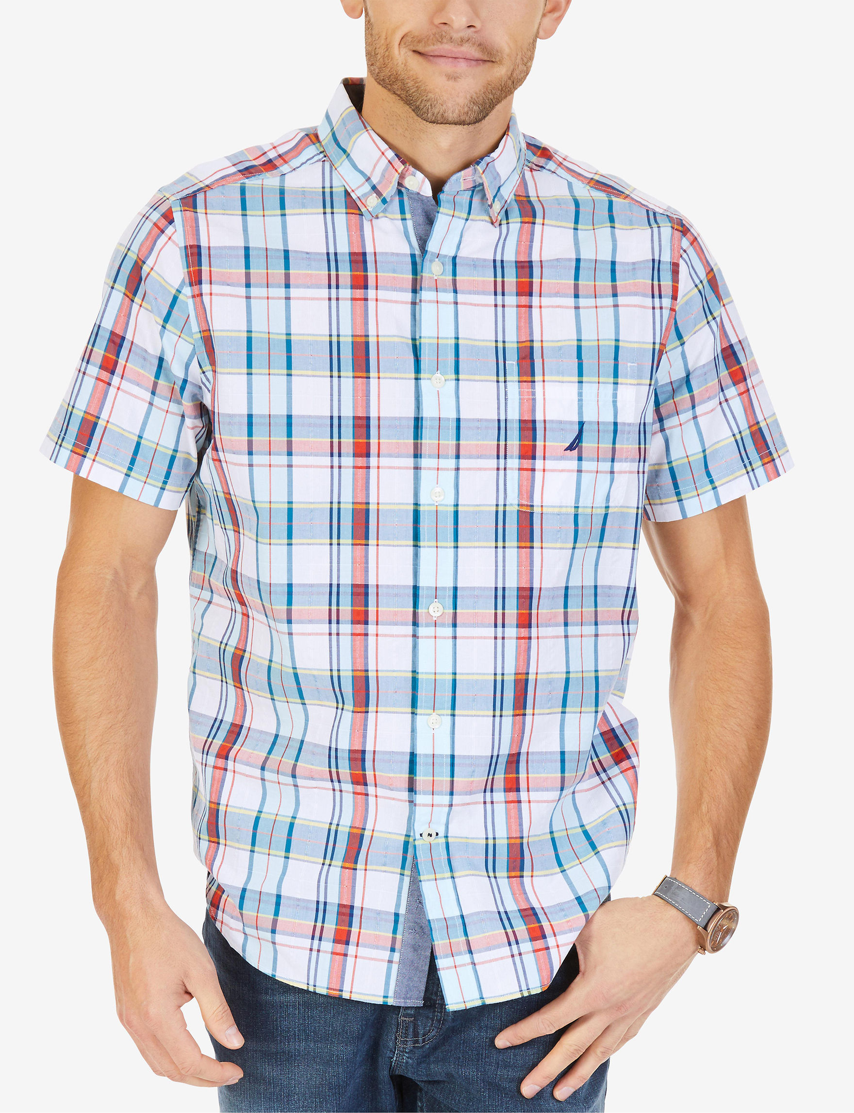 Nautica White / Navy / Red Casual Button Down Shirts