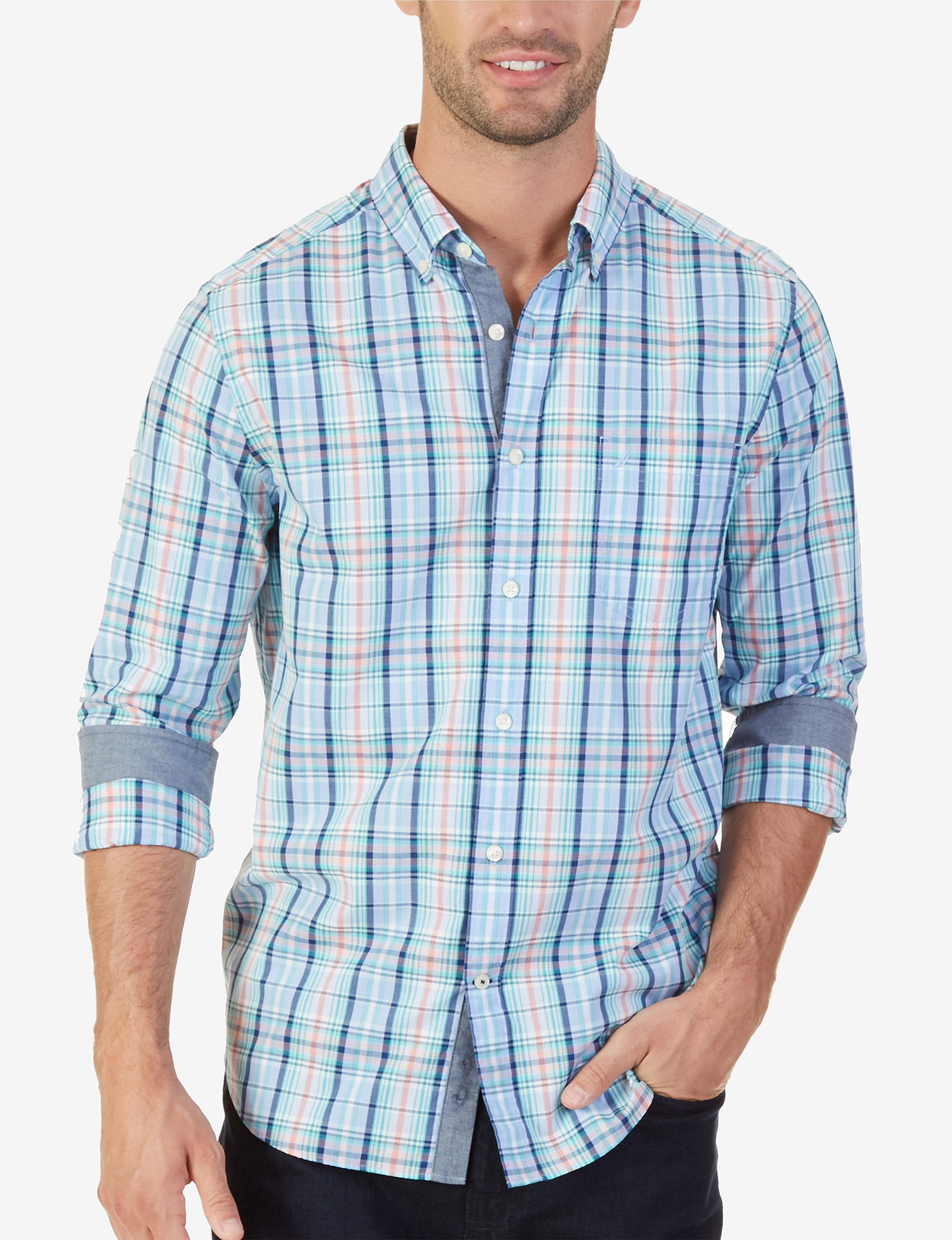 Nautica Blue Plaid Casual Button Down Shirts