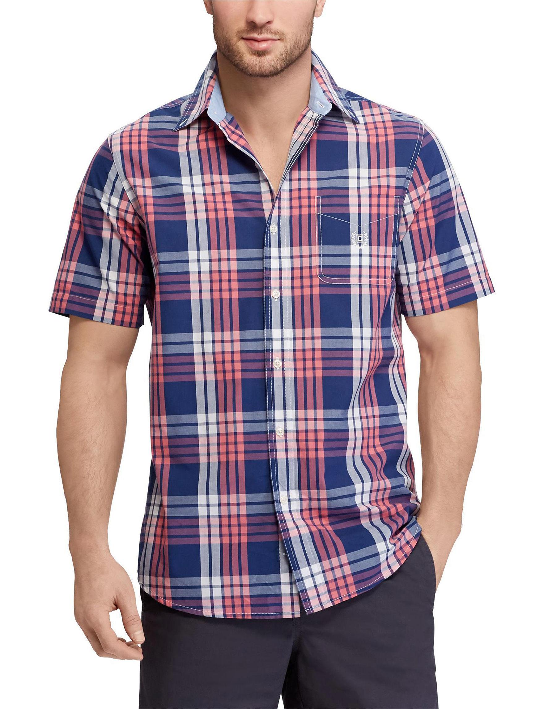 Chaps Navy Plaid Casual Button Down Shirts