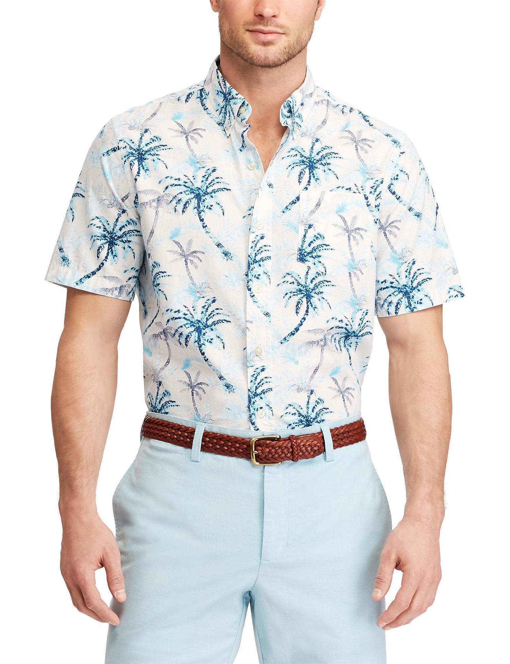 Chaps White Multi Casual Button Down Shirts