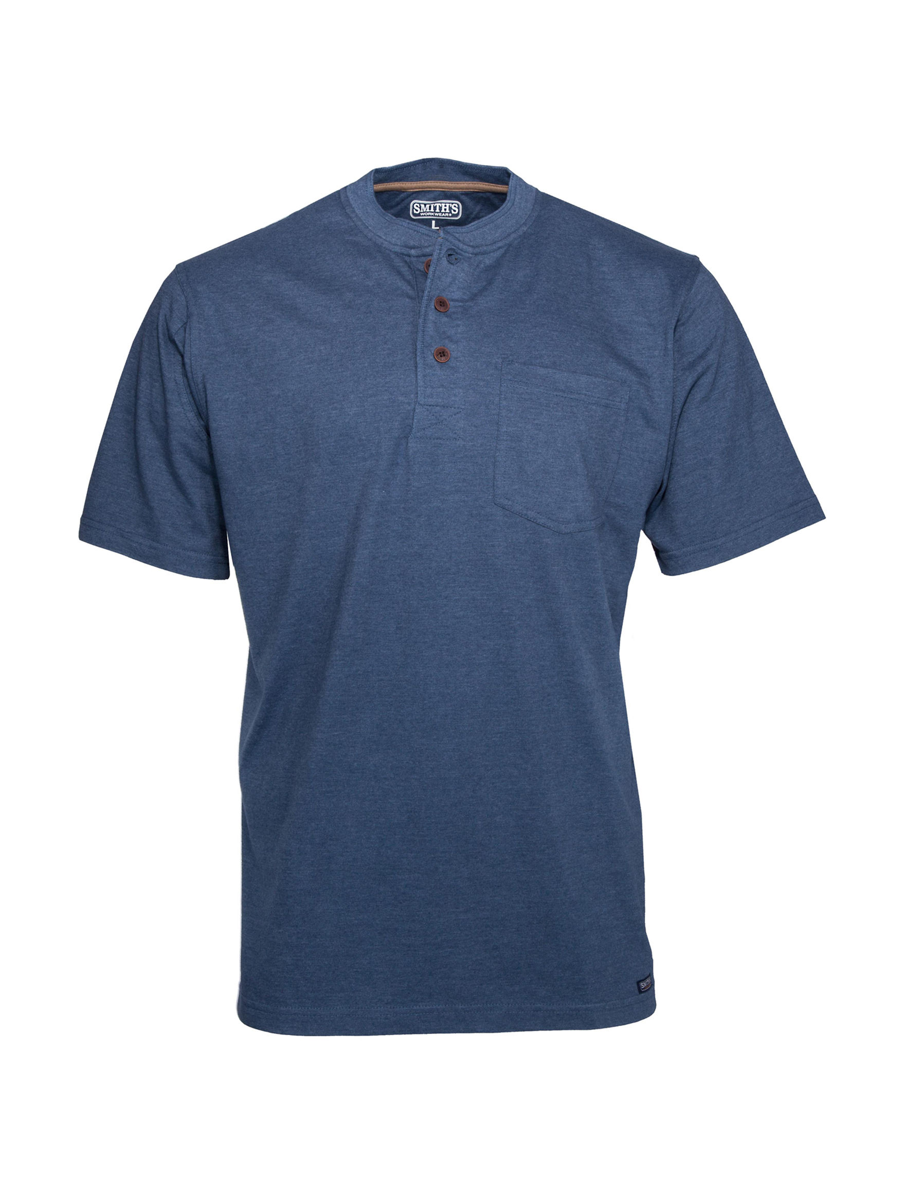 Smith's Workwear Blue Heather Henleys