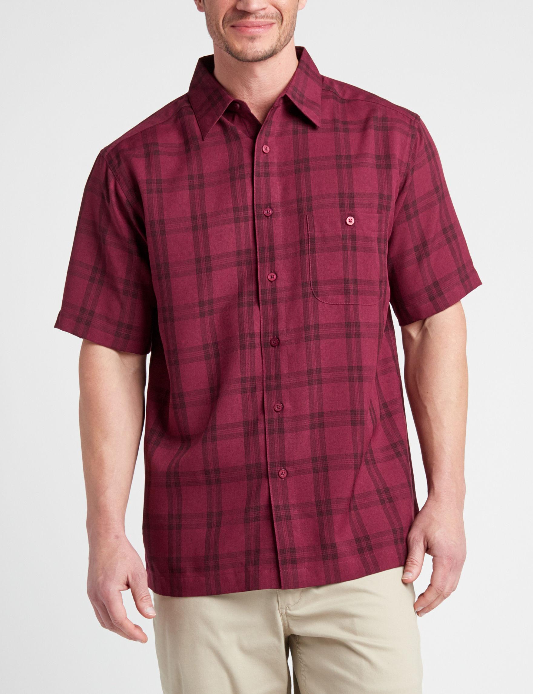 Haggar Burgundy / Black Casual Button Down Shirts