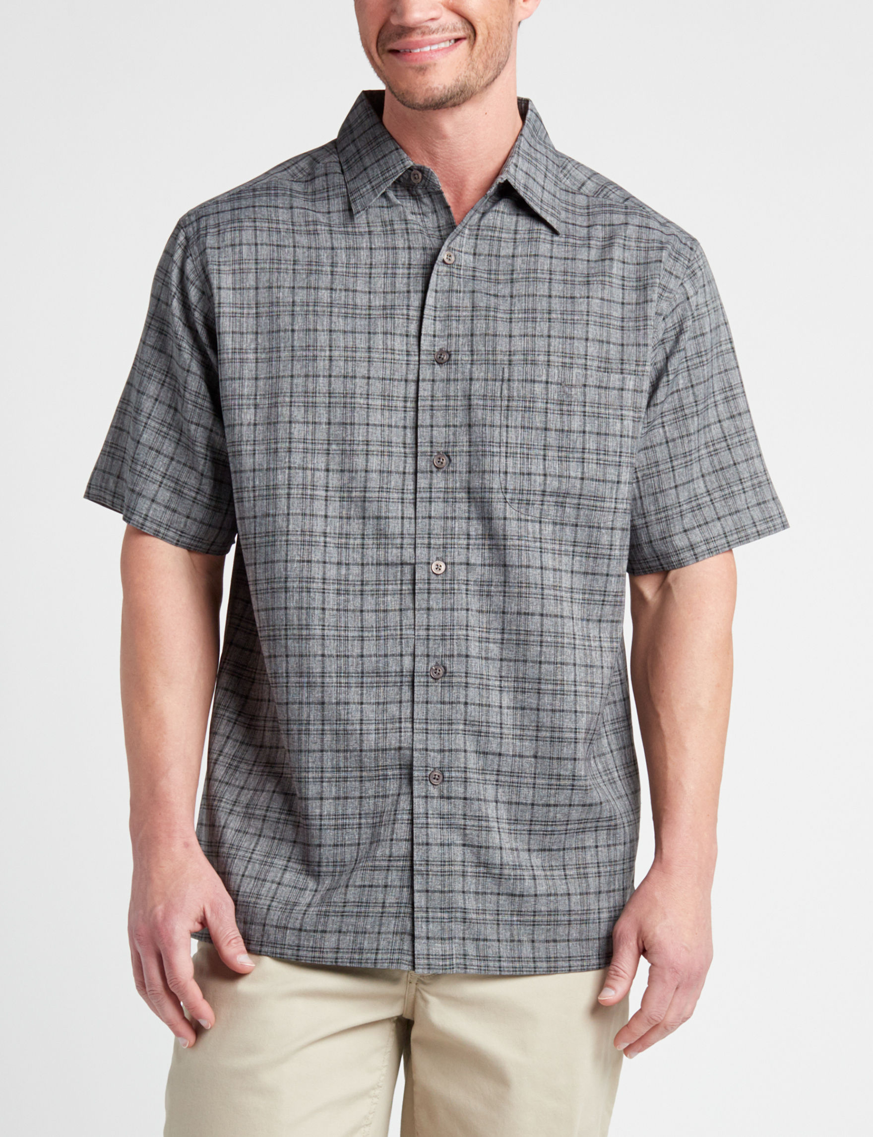 Haggar Grey / Black Casual Button Down Shirts