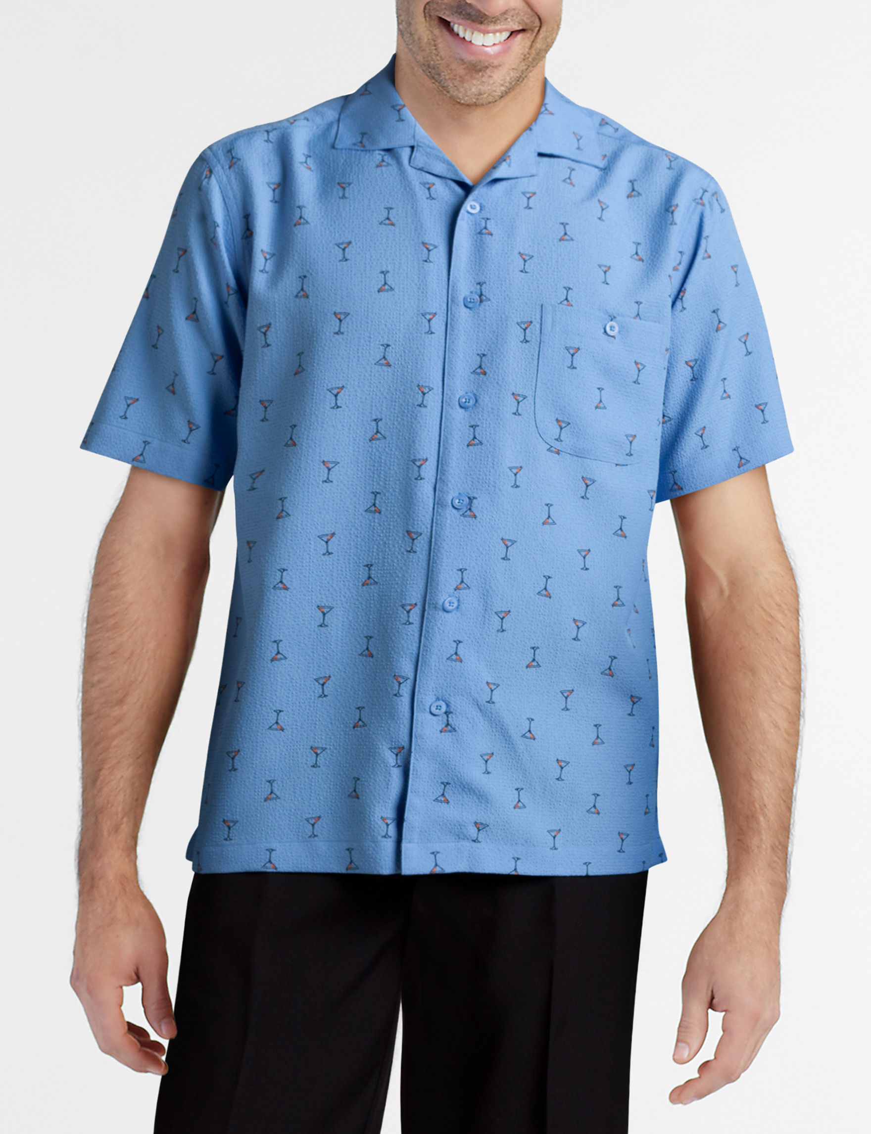 Haggar Blue Casual Button Down Shirts