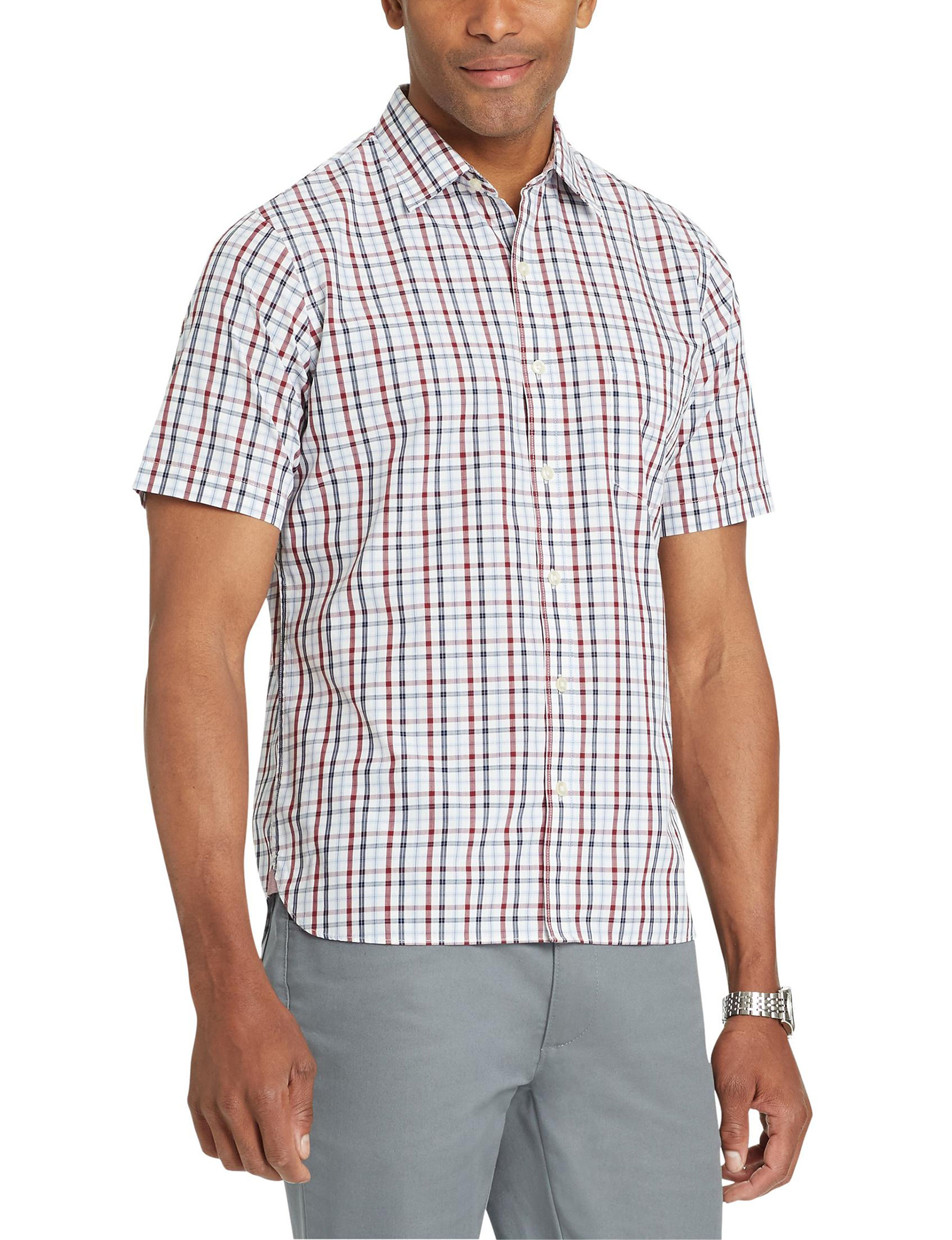 Van Heusen Red Plaid Casual Button Down Shirts