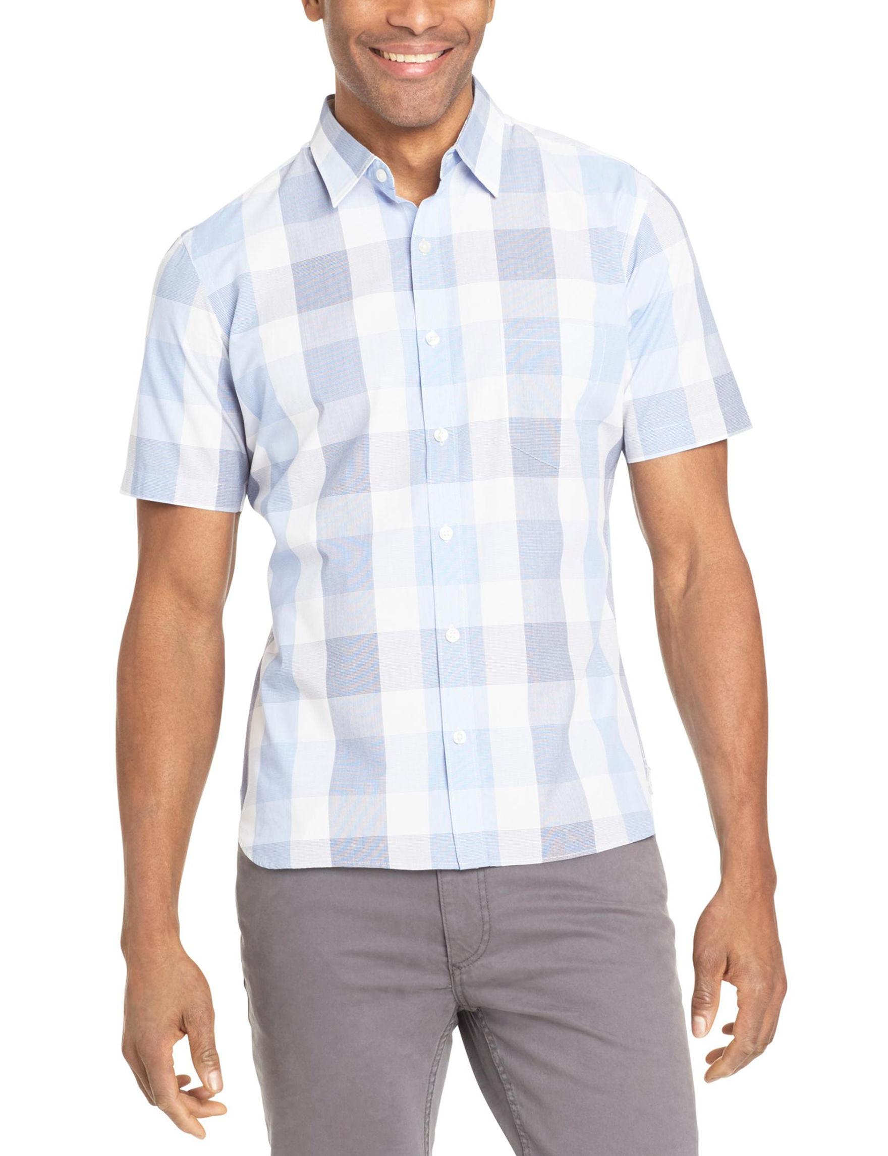 Van Heusen Blue Plaid Casual Button Down Shirts
