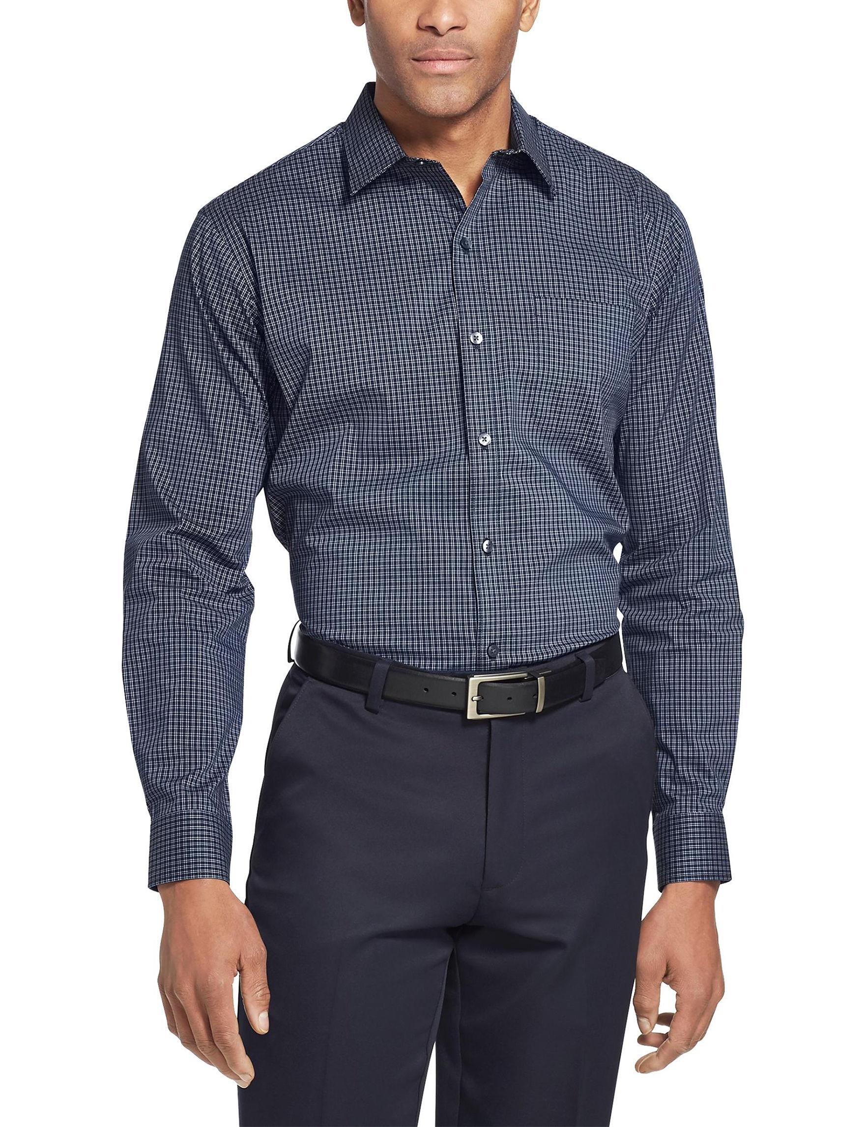 Van Heusen Navy / White Casual Button Down Shirts