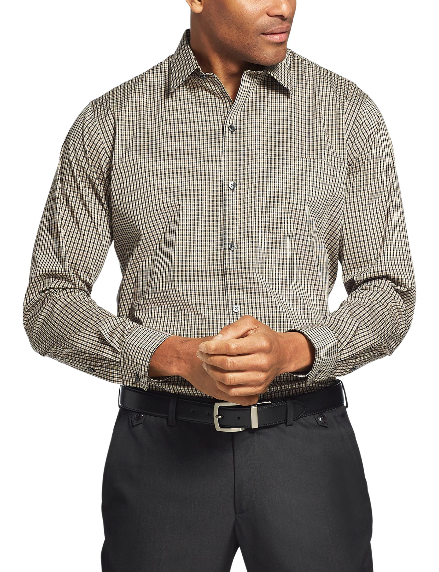 Van Heusen Beige Plaid Casual Button Down Shirts