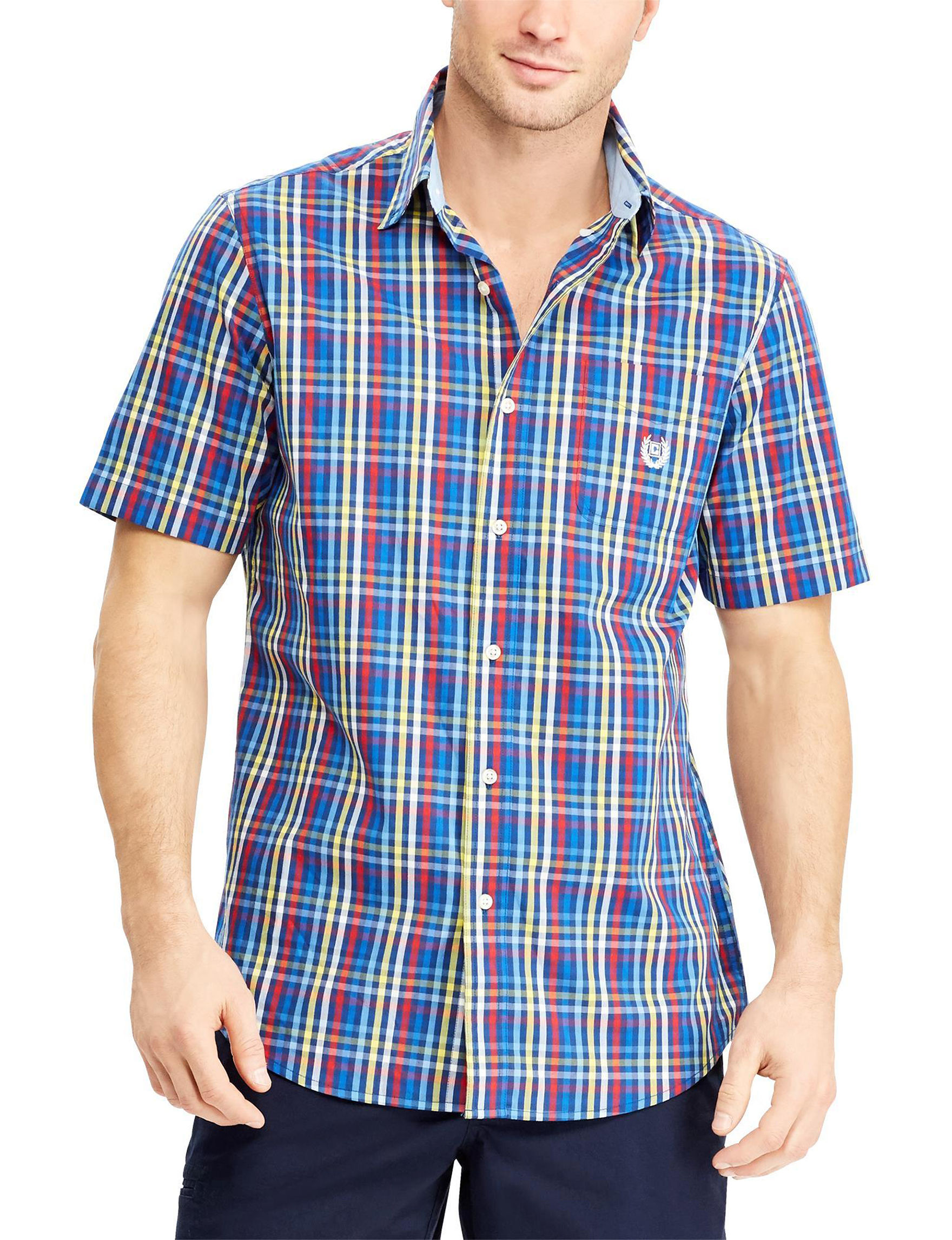 Chaps Blue Plaid Casual Button Down Shirts