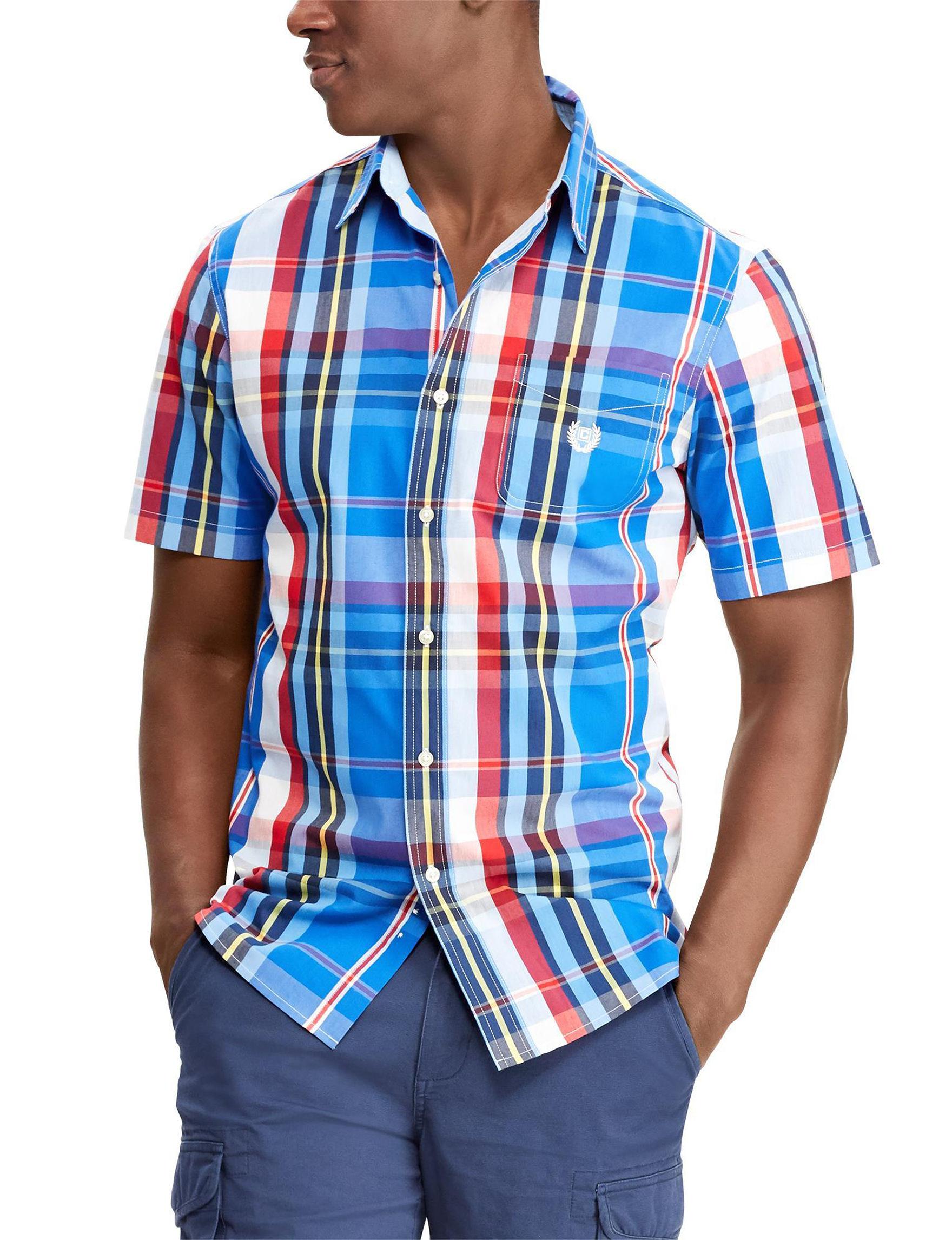 Chaps Blue Plaid Casual Button Down Shirts