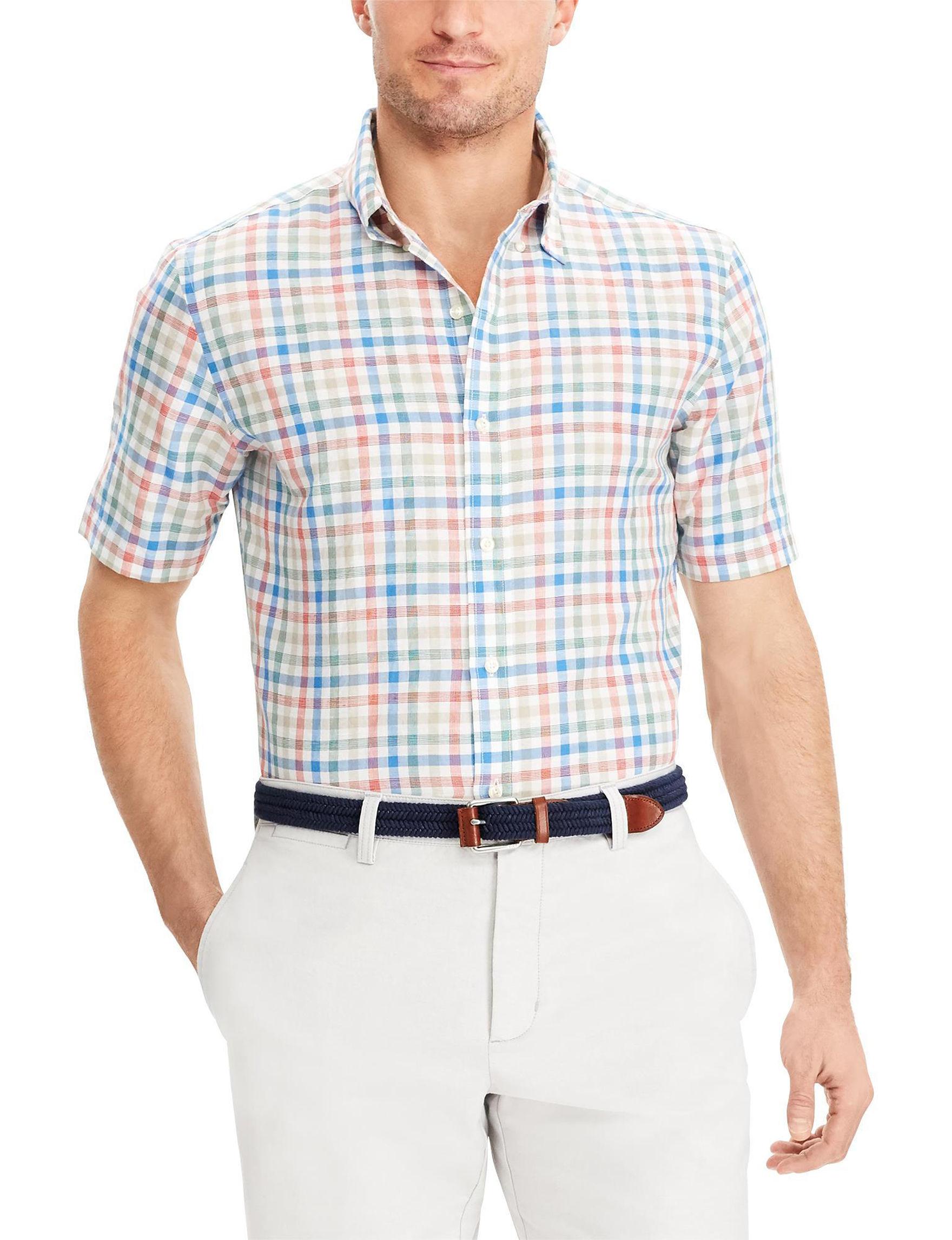 Chaps White Plaid Casual Button Down Shirts