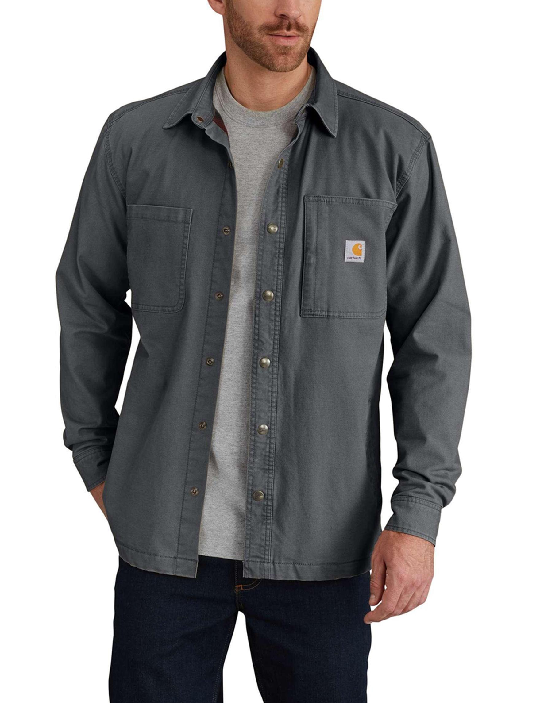 Carhartt Grey Casual Button Down Shirts