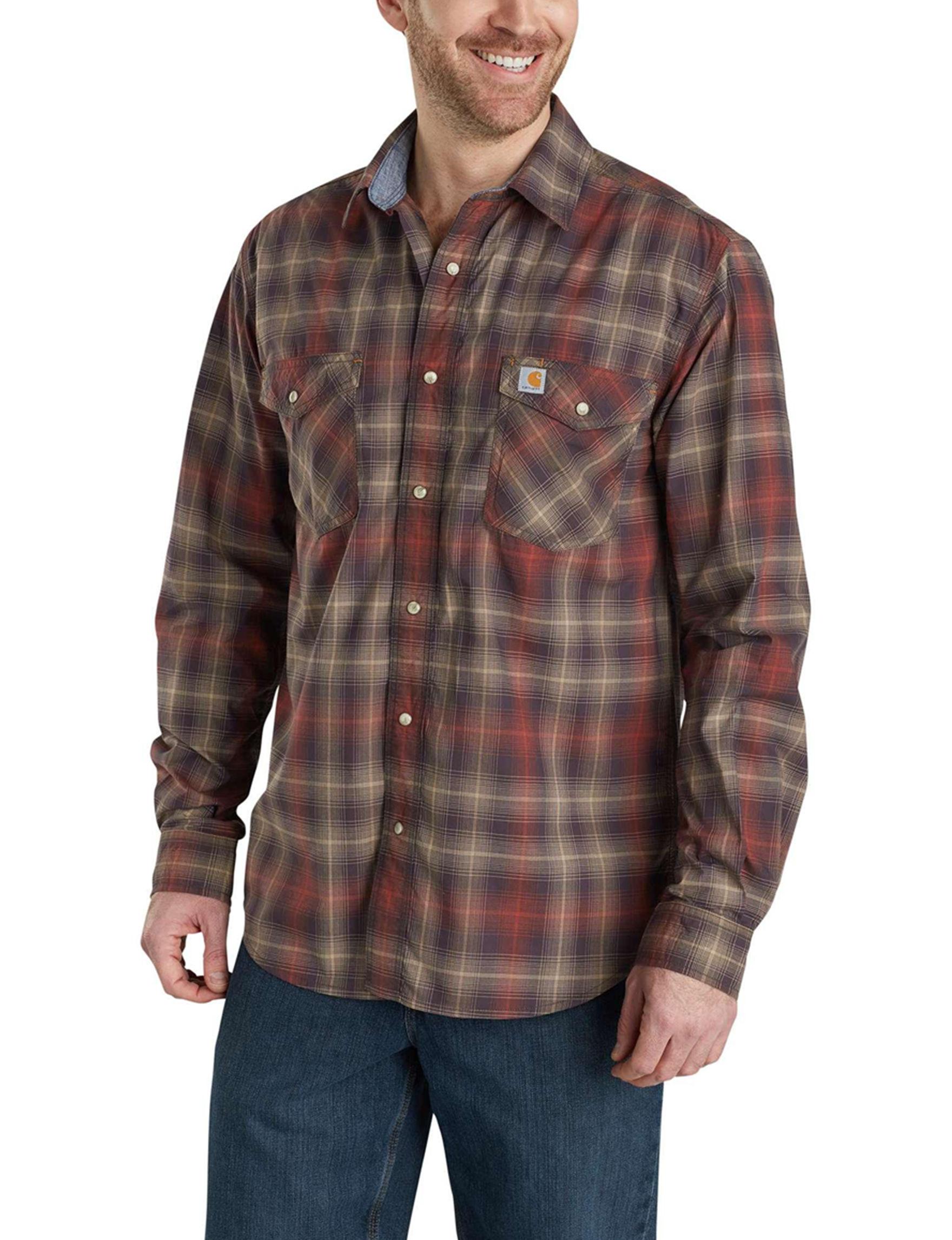 Carhartt Dark Brown Casual Button Down Shirts