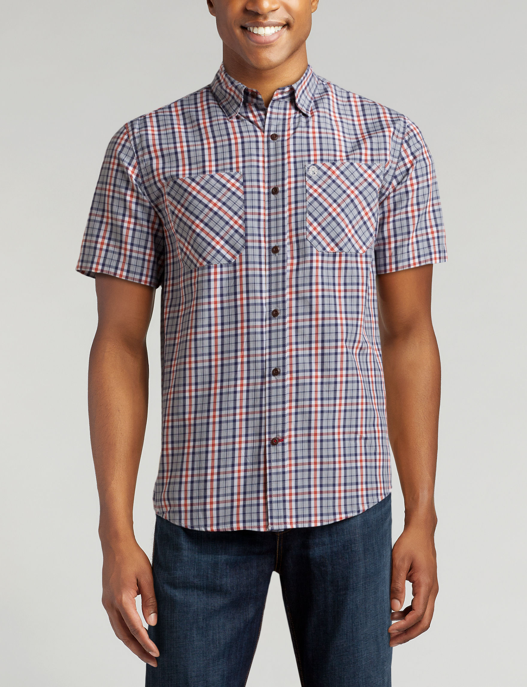 Coleman Grey / Multi Casual Button Down Shirts