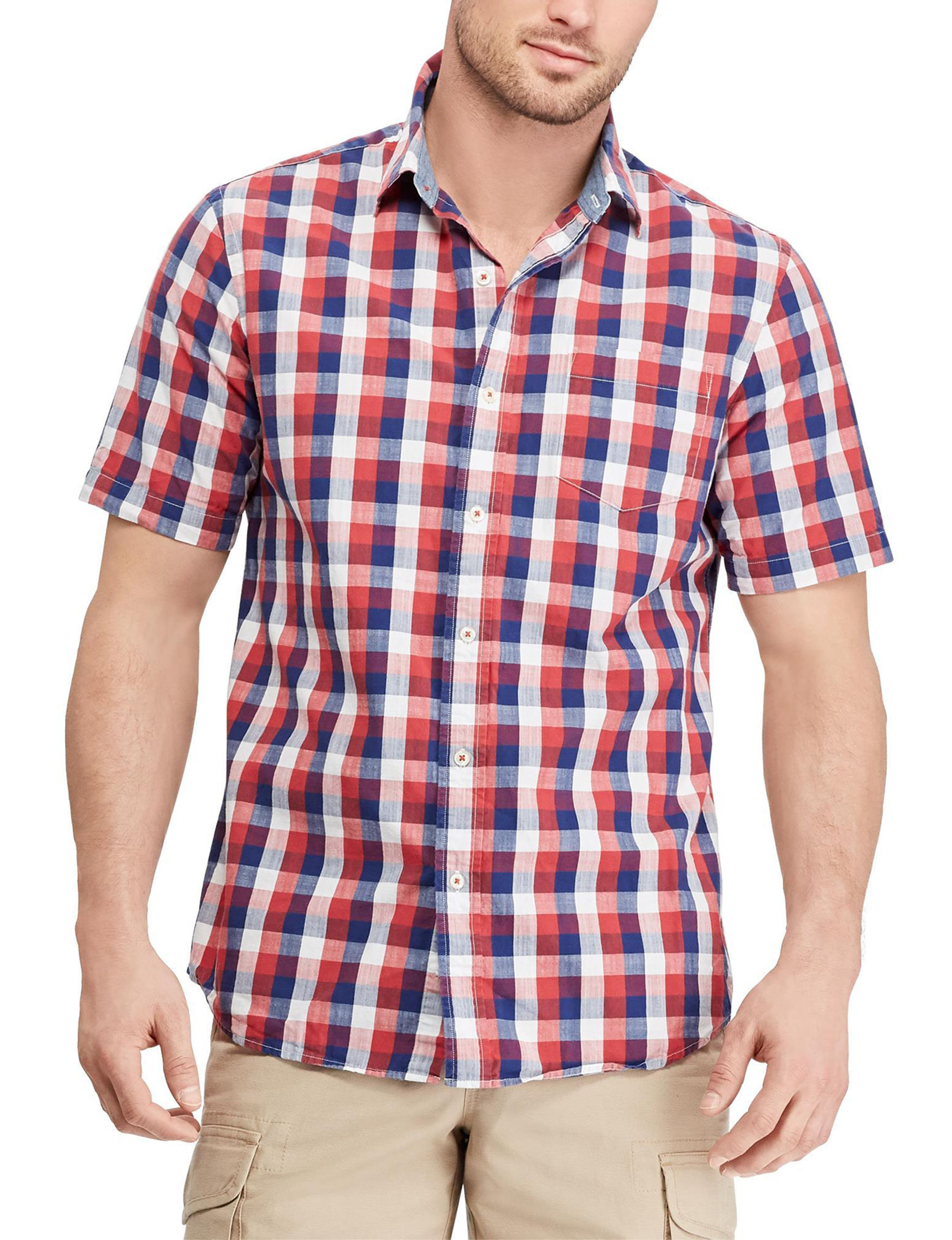 Chaps Red / Navy Casual Button Down Shirts