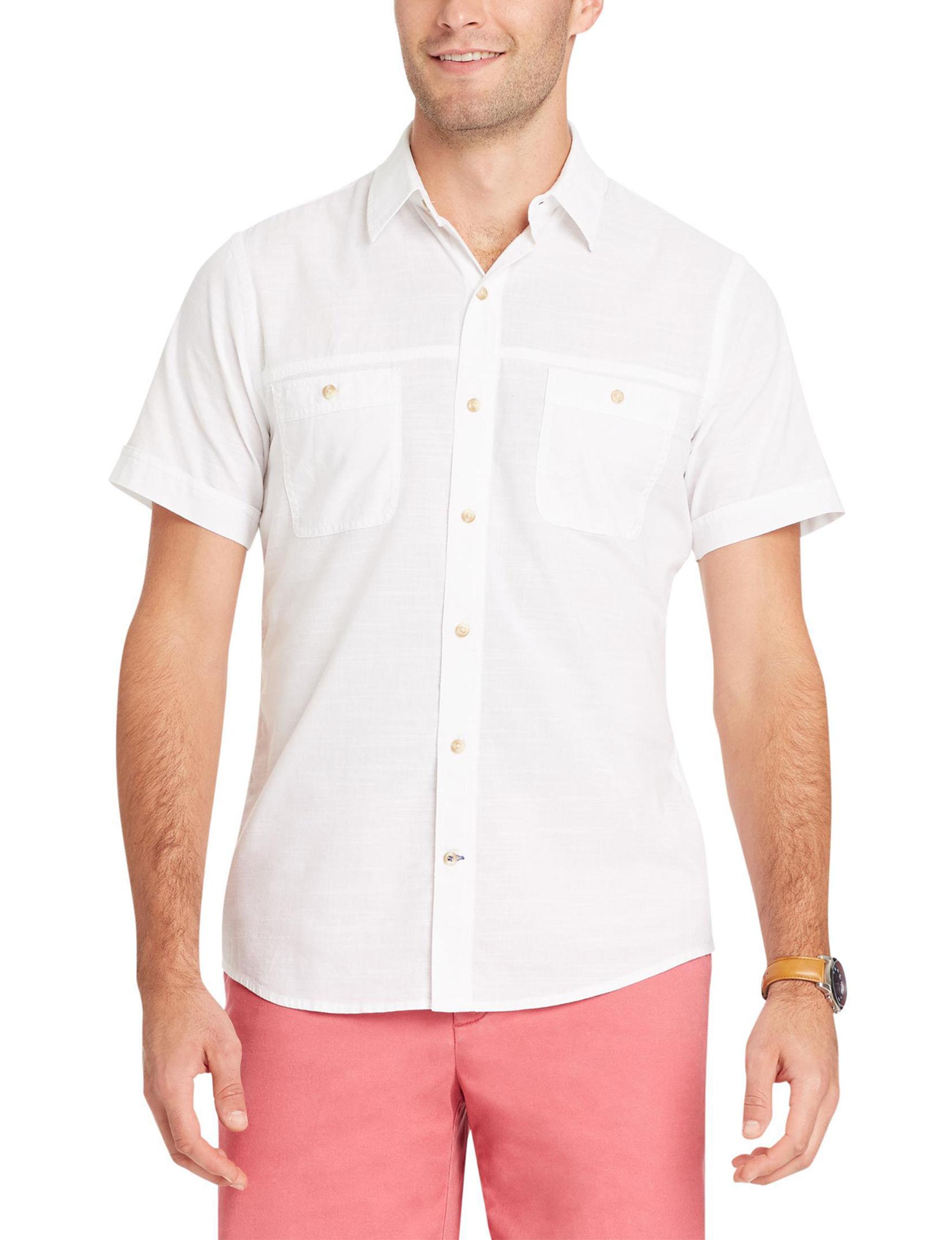 Izod White Casual Button Down Shirts