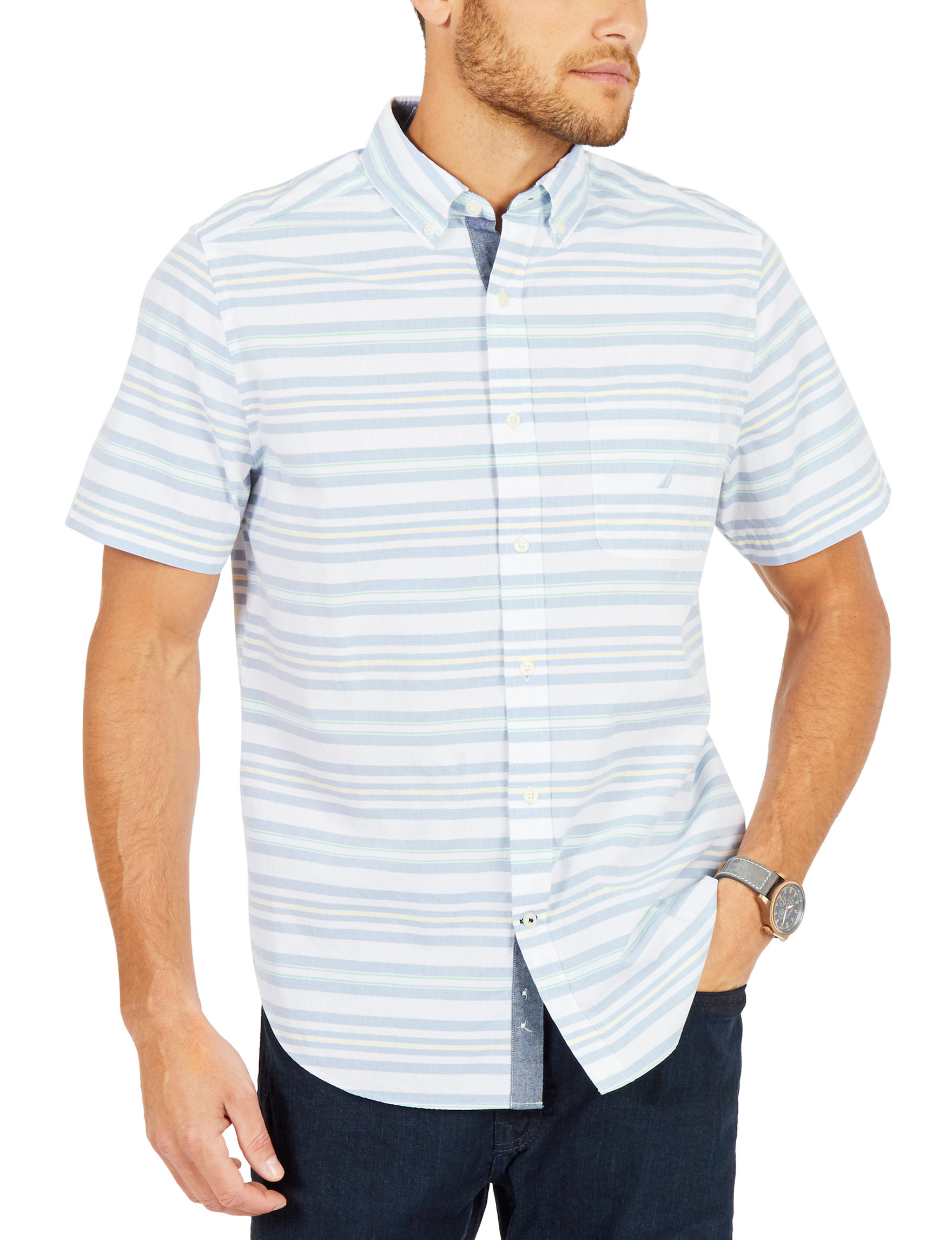 Nautica Blue / White Casual Button Down Shirts