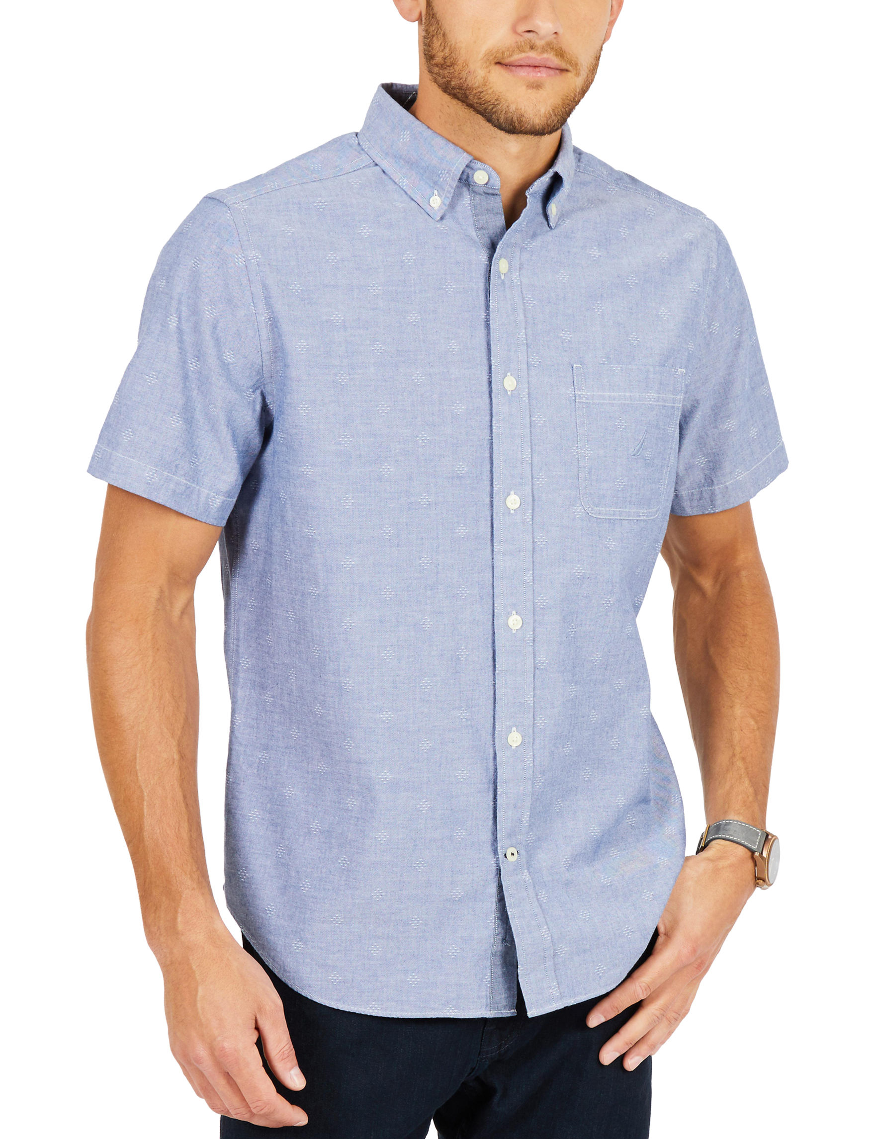 Nautica Blue Casual Button Down Shirts