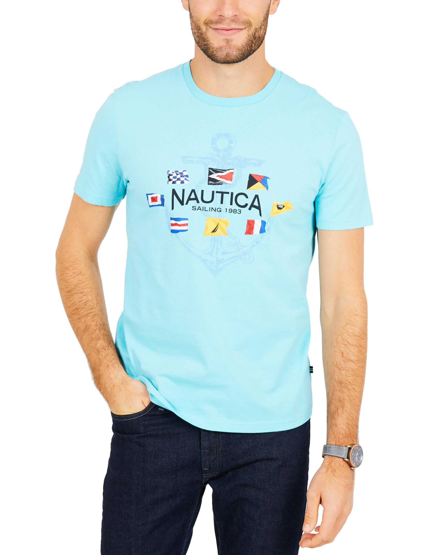 Nautica Sky Blue Tees & Tanks