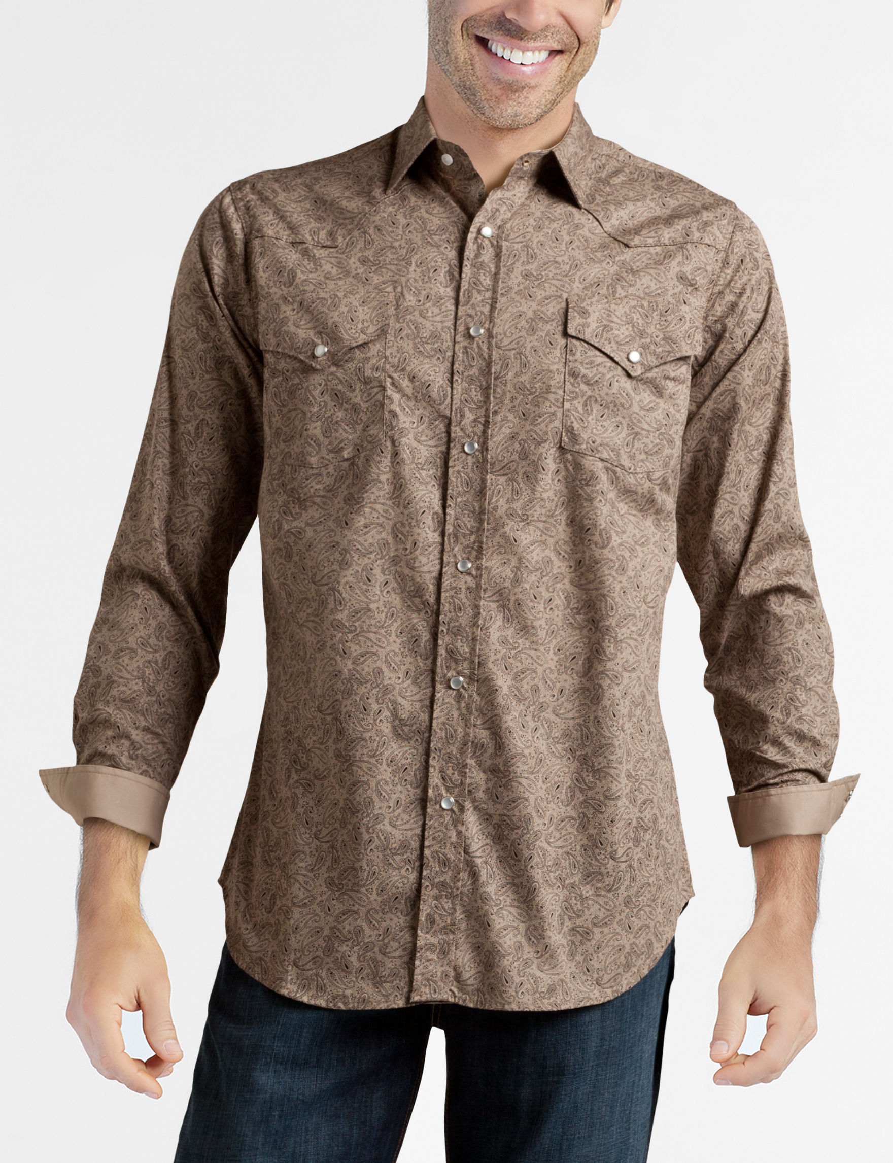 Ely Cattleman Brown Paisley Casual Button Down Shirts